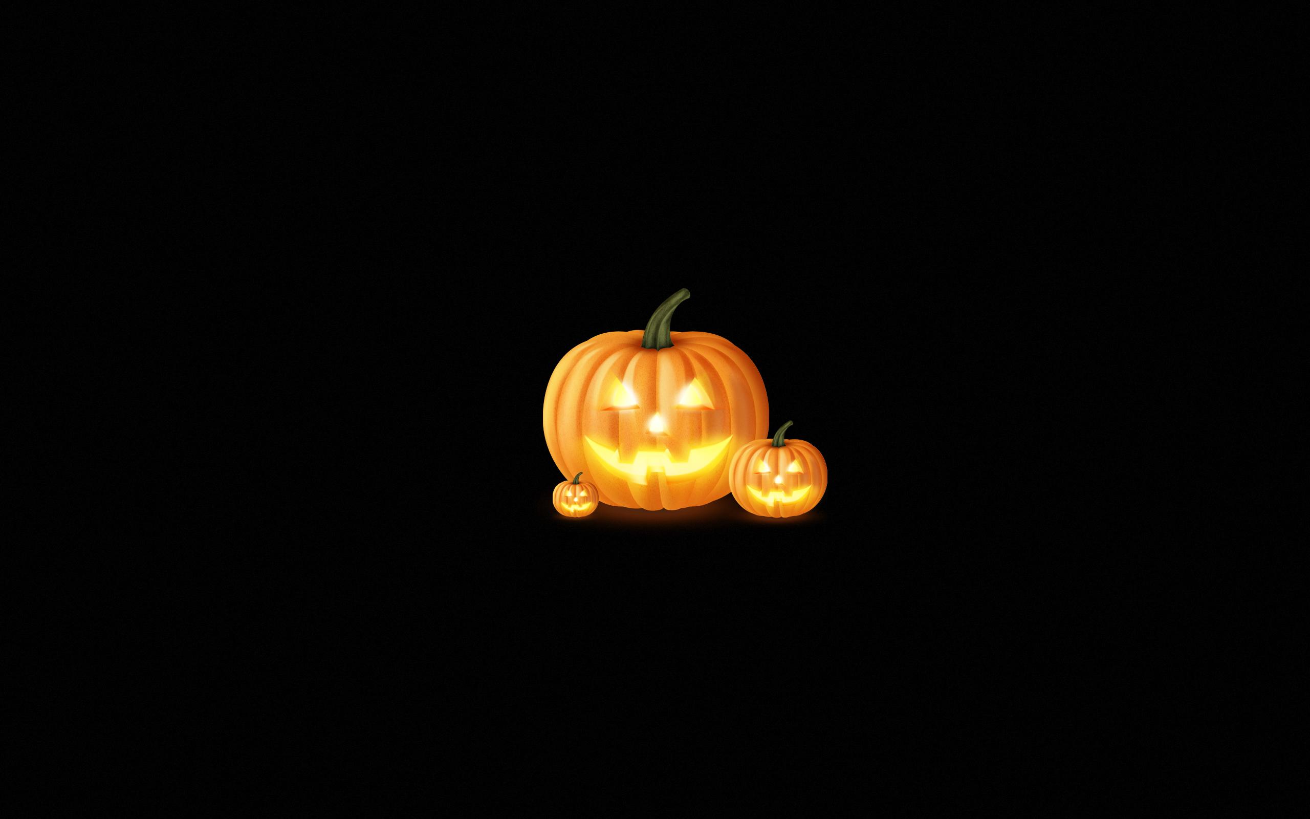 General 2560x1600 Halloween spooky minimalism glowing eyes pumpkin