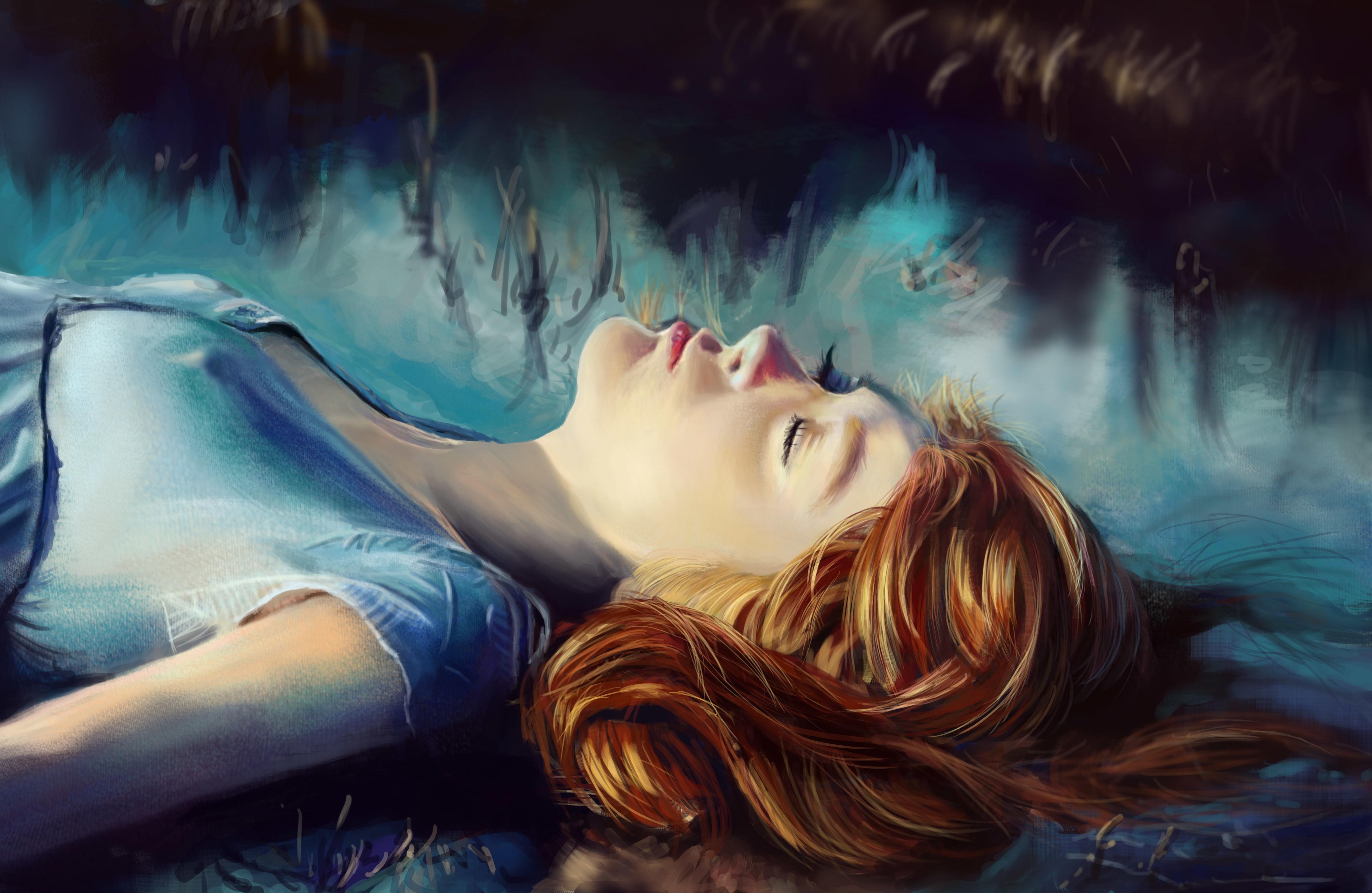 General 4207x2739 artwork women closed eyes nipples face sleeping lying on back