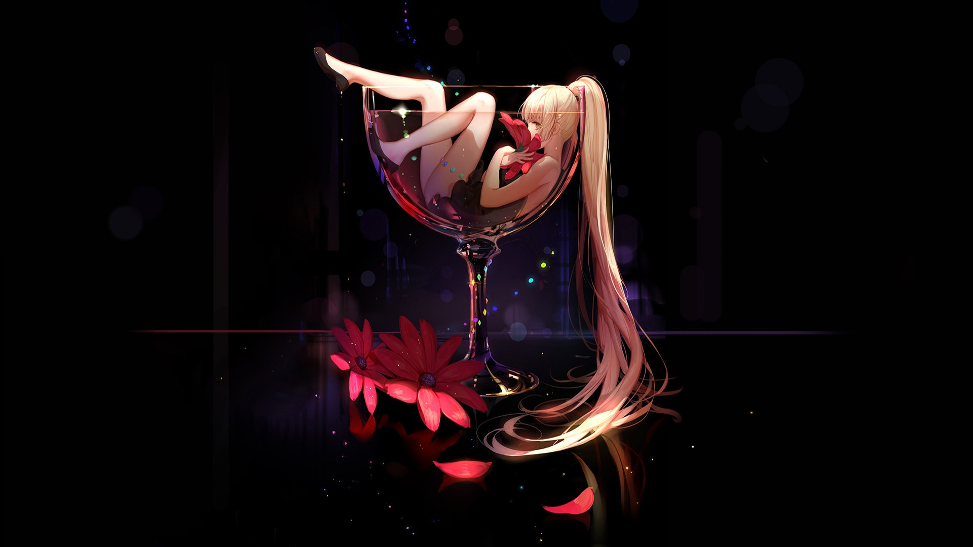 Anime 1920x1080 anime girls original characters wine long hair blonde ASK (artist)
