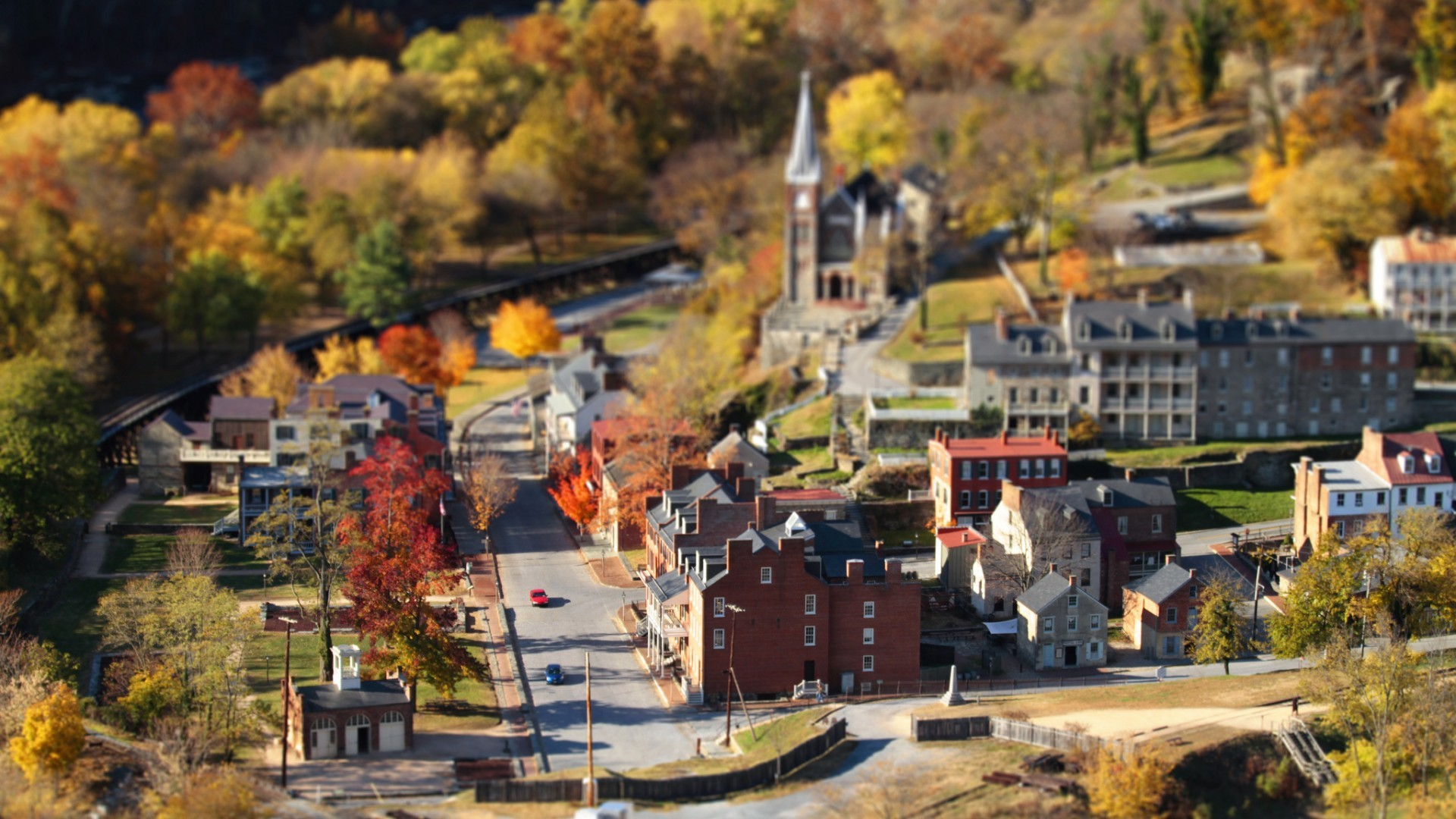 General 1920x1080 town fall road landscape tilt shift