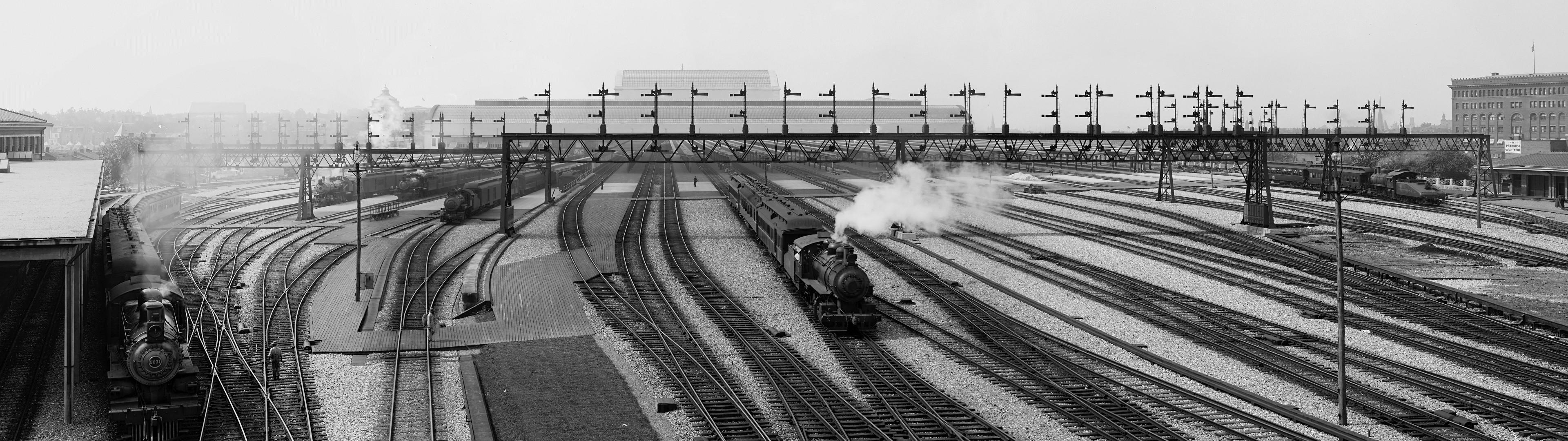 General 3840x1080 train monochrome steam locomotive rail yard railway multiple display