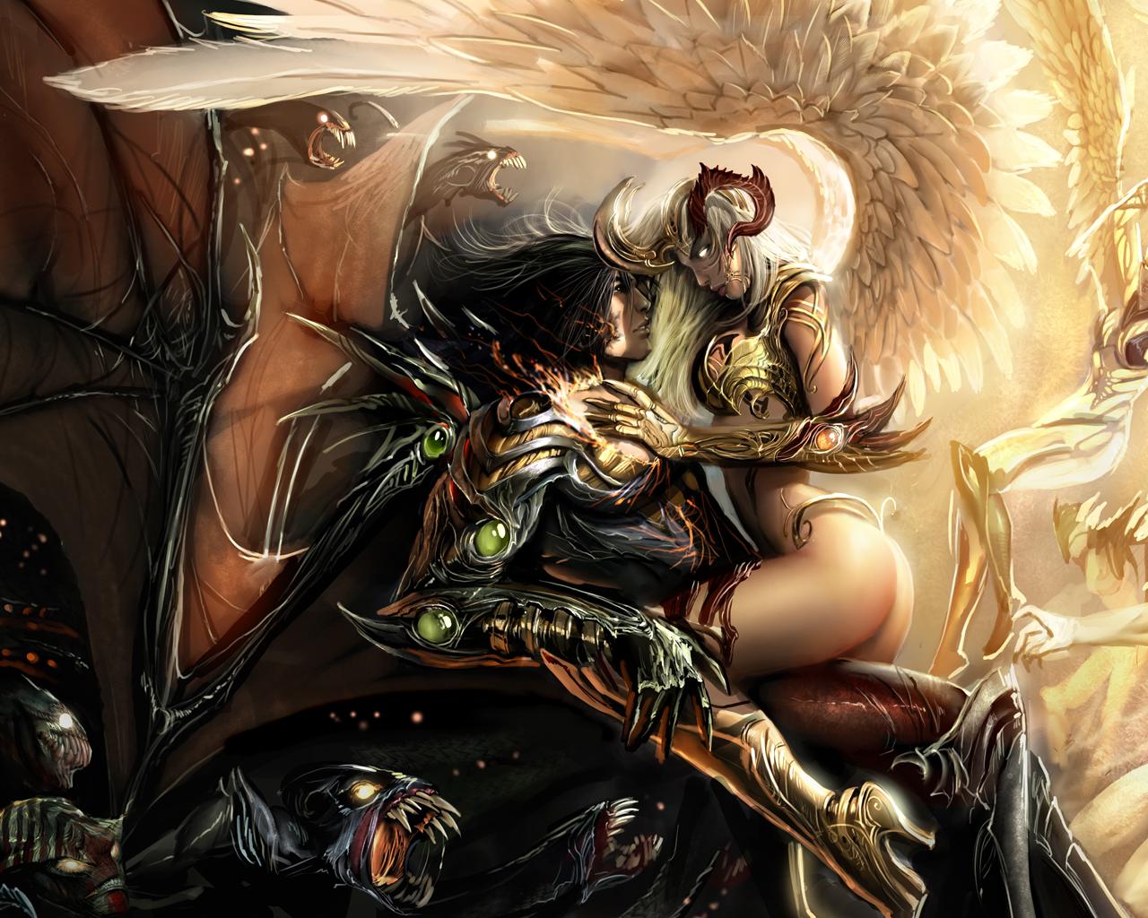Anime 1280x1024 angel demon the Darkness