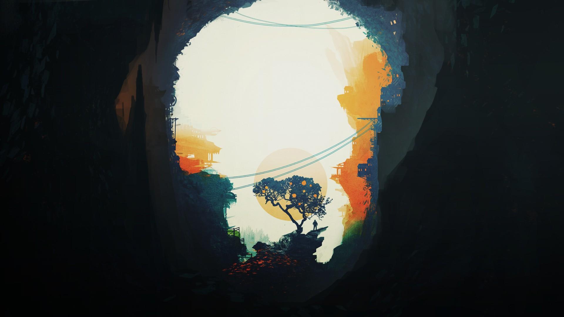 General 1920x1080 minimalism digital art artwork trees landscape cave Sun
