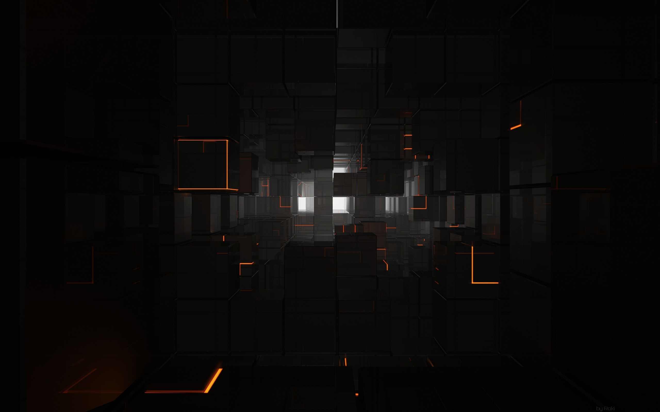 General 2560x1600 cube black orange white shiny reflection 3D digital art 3D Blocks render CGI dark abstract 3D Abstract