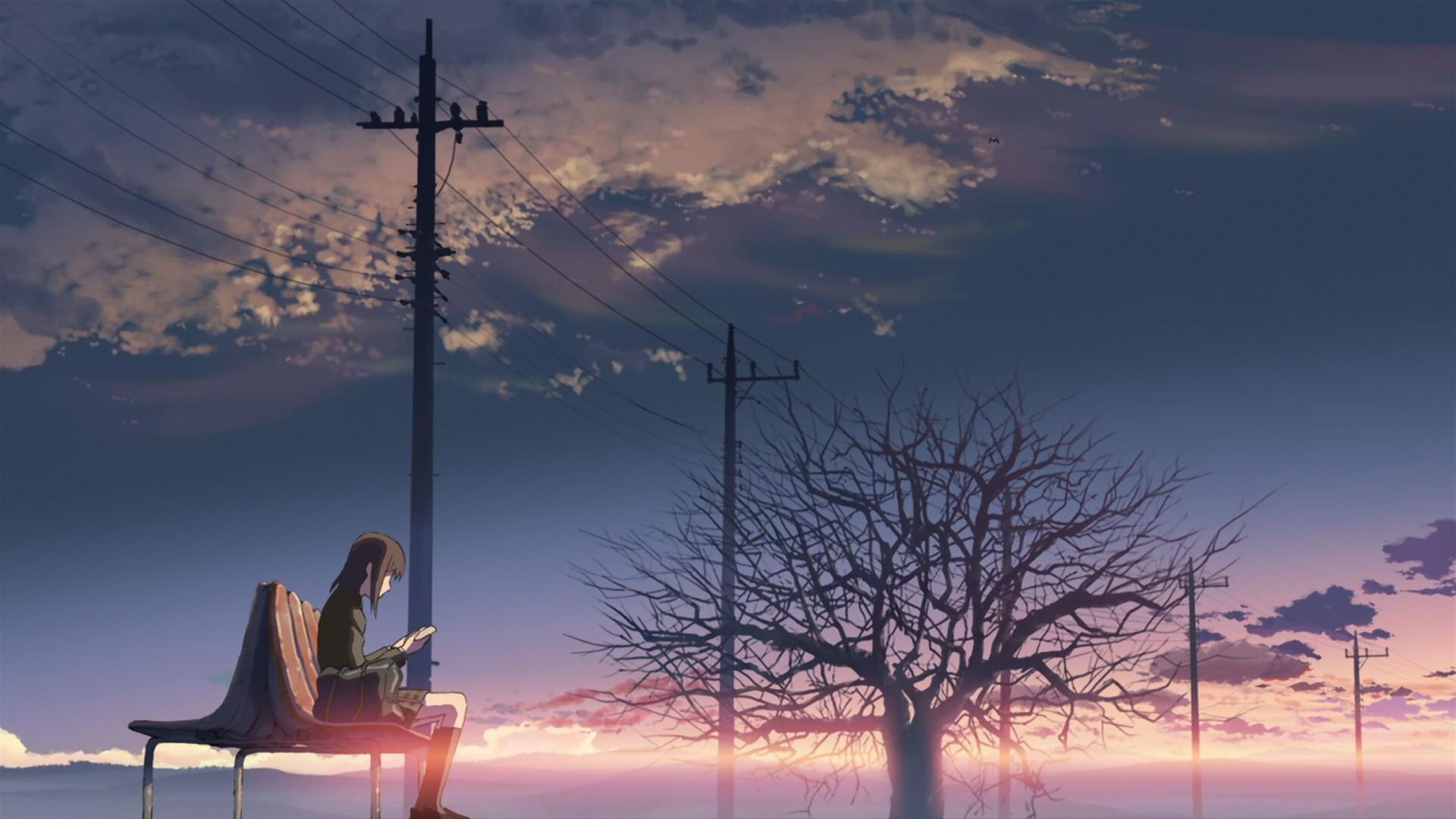 Anime 1920x1080 anime 5 Centimeters Per Second power lines trees sunlight bench bag anime girls brunette cellphone clouds sunrise