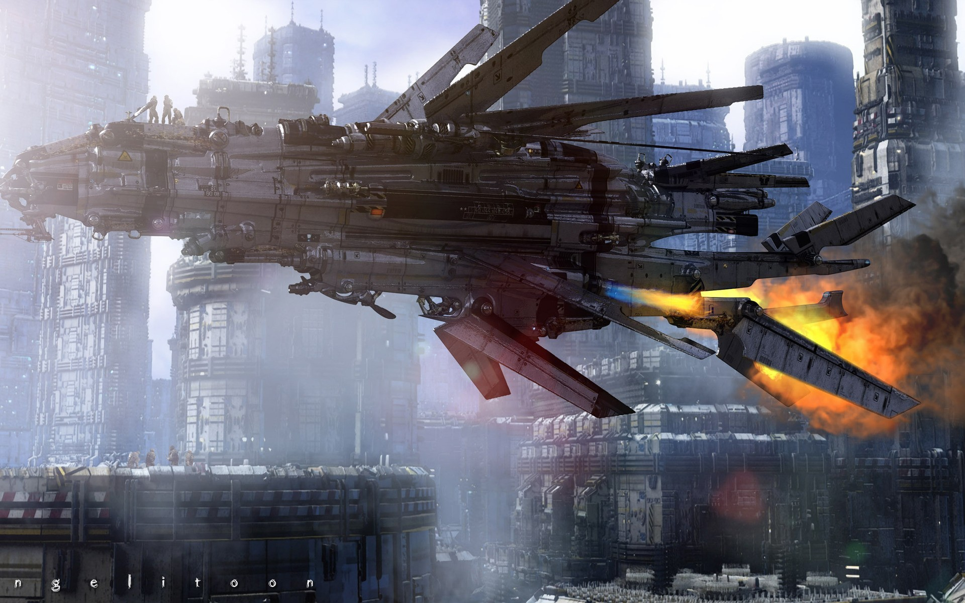 General 1920x1200 science fiction spaceship artwork futuristic futuristic city vehicle
