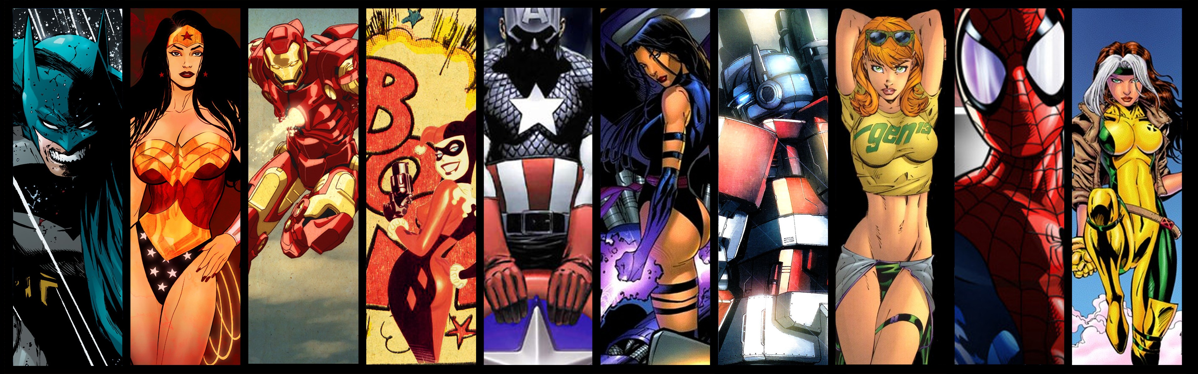 General 3840x1200 DC Comics Transformers Batman Harley Quinn Iron Man Wonder Woman Captain America Spider-Man collage