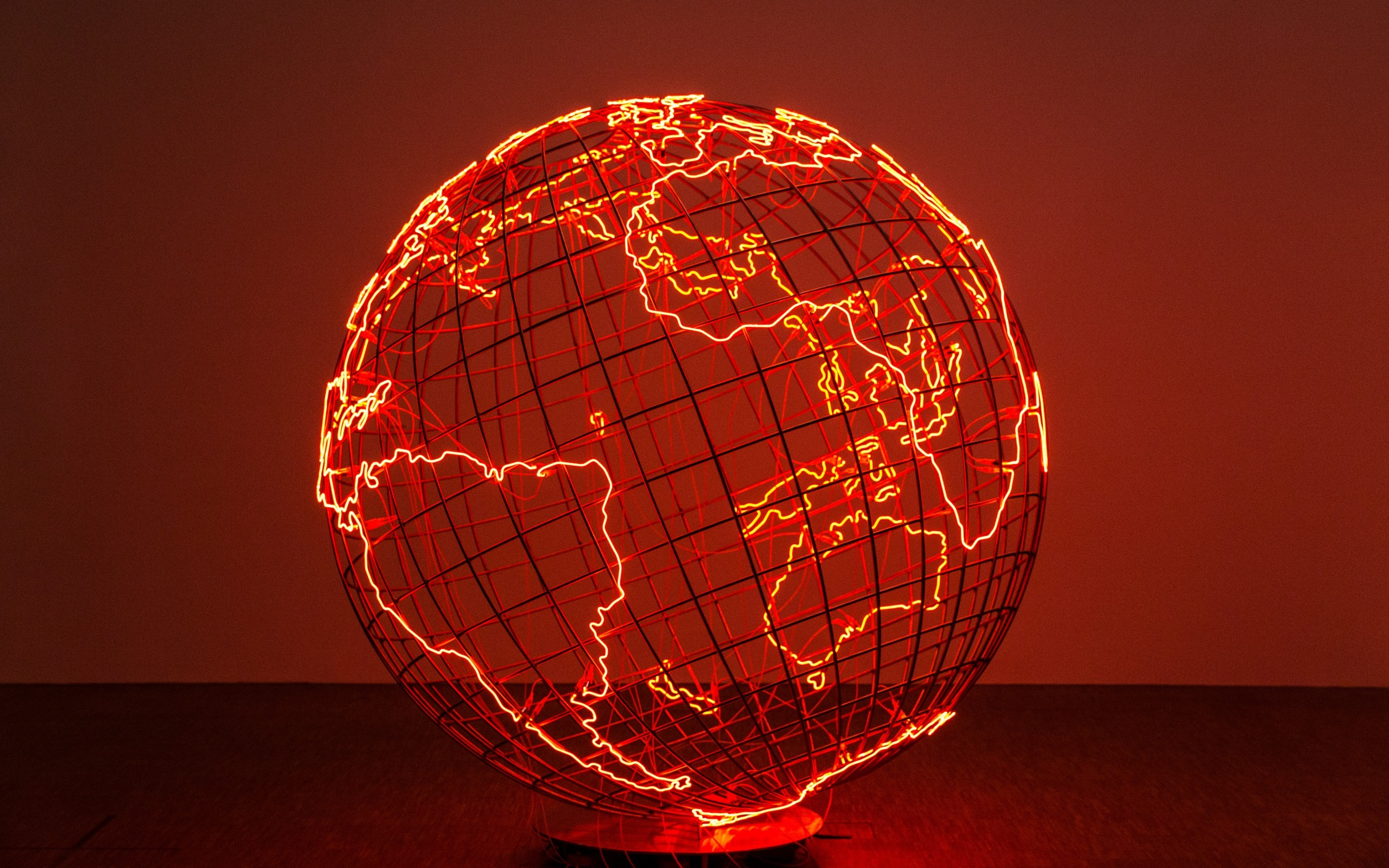 General 2560x1600 planet Earth artwork wire lights neon globes nets continents Europe Africa South America Australia Antarctica simple background electricity sphere world map
