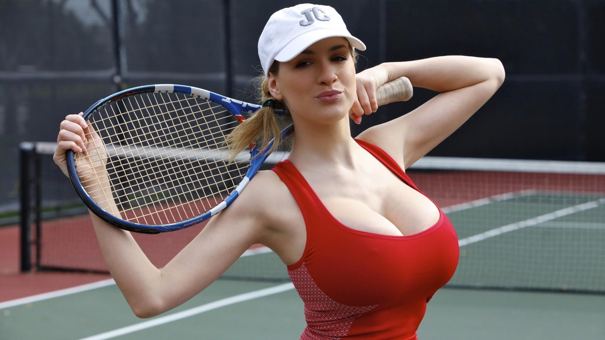 People 2000x1125 women boobs tennis Jordan Carver armpits Hugos cleavage hard nipples big boobs huge breasts tennis rackets looking at viewer tennis court tennis courts women outdoors