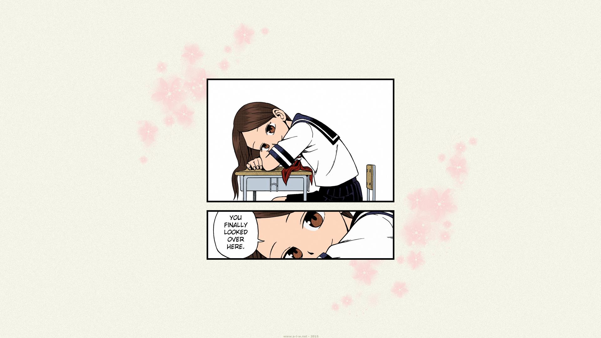 Anime 1920x1080 Karakai Jouzu no Takagi-san Takagi-san school uniform schoolgirl anime girls manga romance love Souichirou Yamamoto