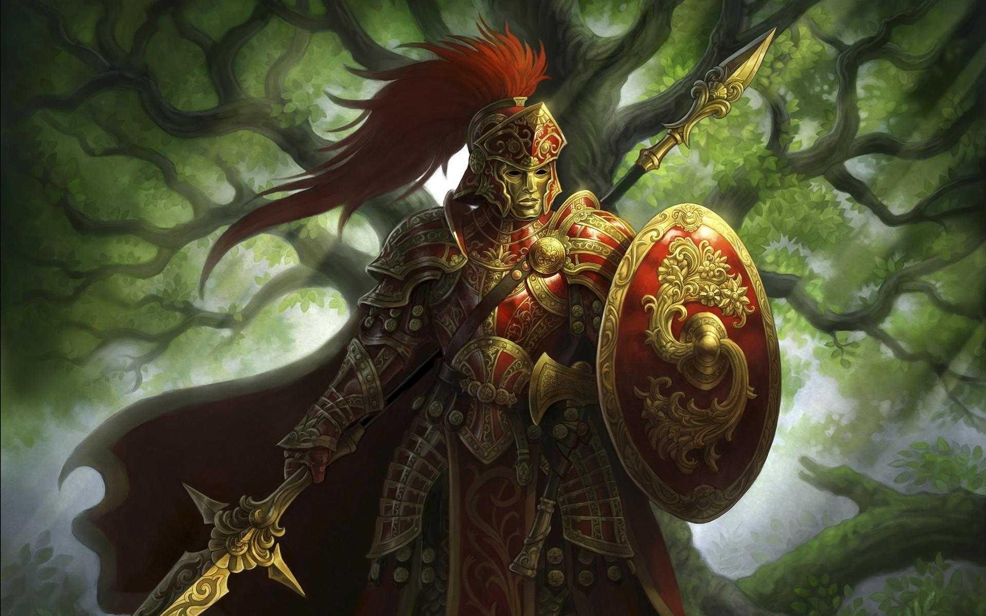 General 1920x1200 fantasy art spear armor helmet mask shield trees