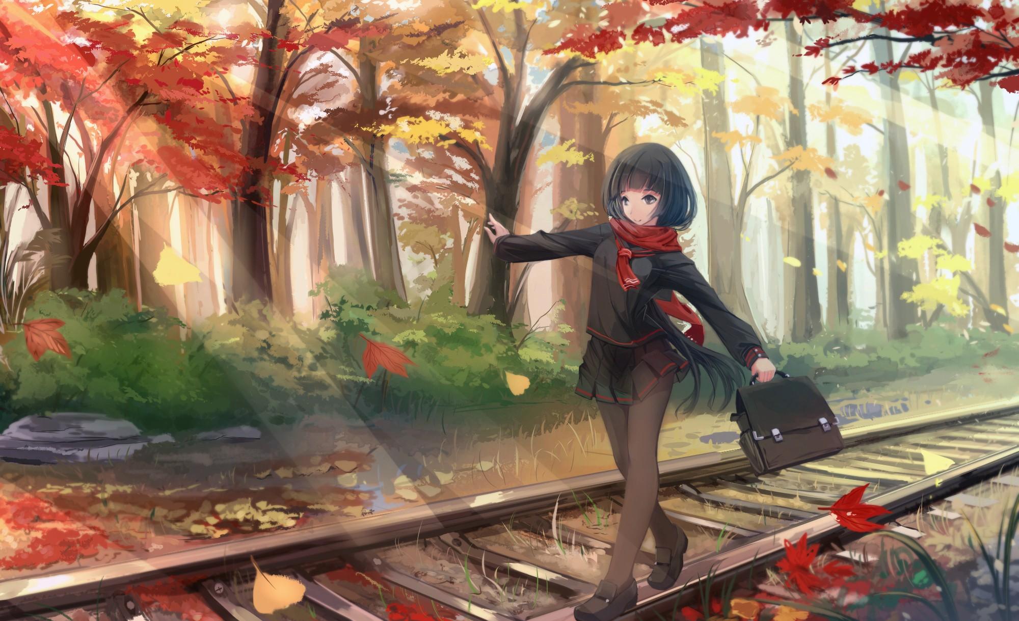 Anime 2000x1219 anime girls original characters fall black hair scarf leaves long hair pantyhose school uniform trees