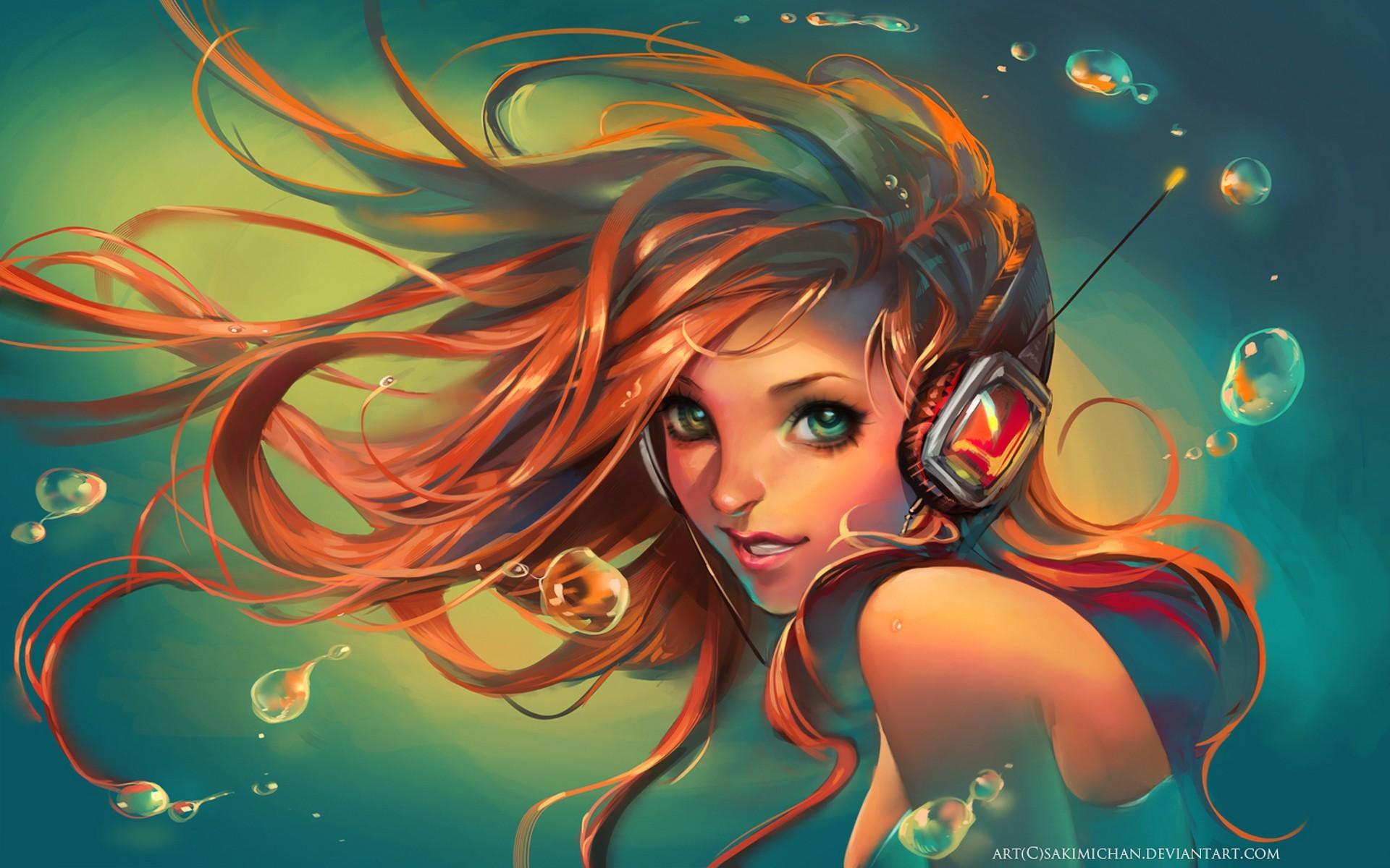 General 1920x1200 artwork women Sakimichan anime girls anime headphones bubbles face blue background long hair