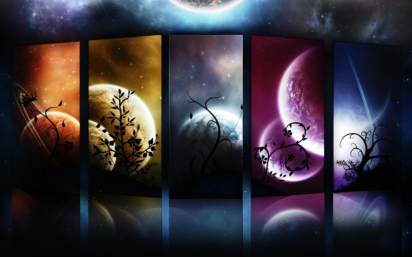 General 1440x900 abstract world digital art space plants colorful planet collage space art