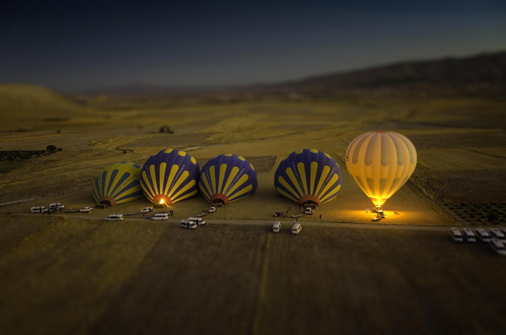 General 2048x1356 hot air balloons landscape tilt shift car field nature group of people hills fire