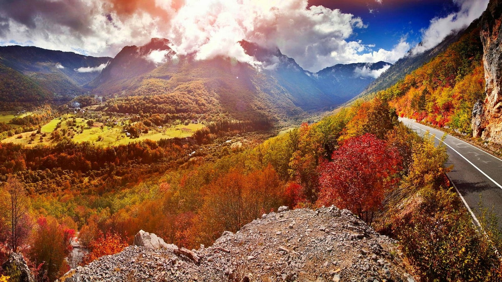 General 1600x900 nature landscape valley road mountains sunlight clouds forest fall trees colorful Montenegro