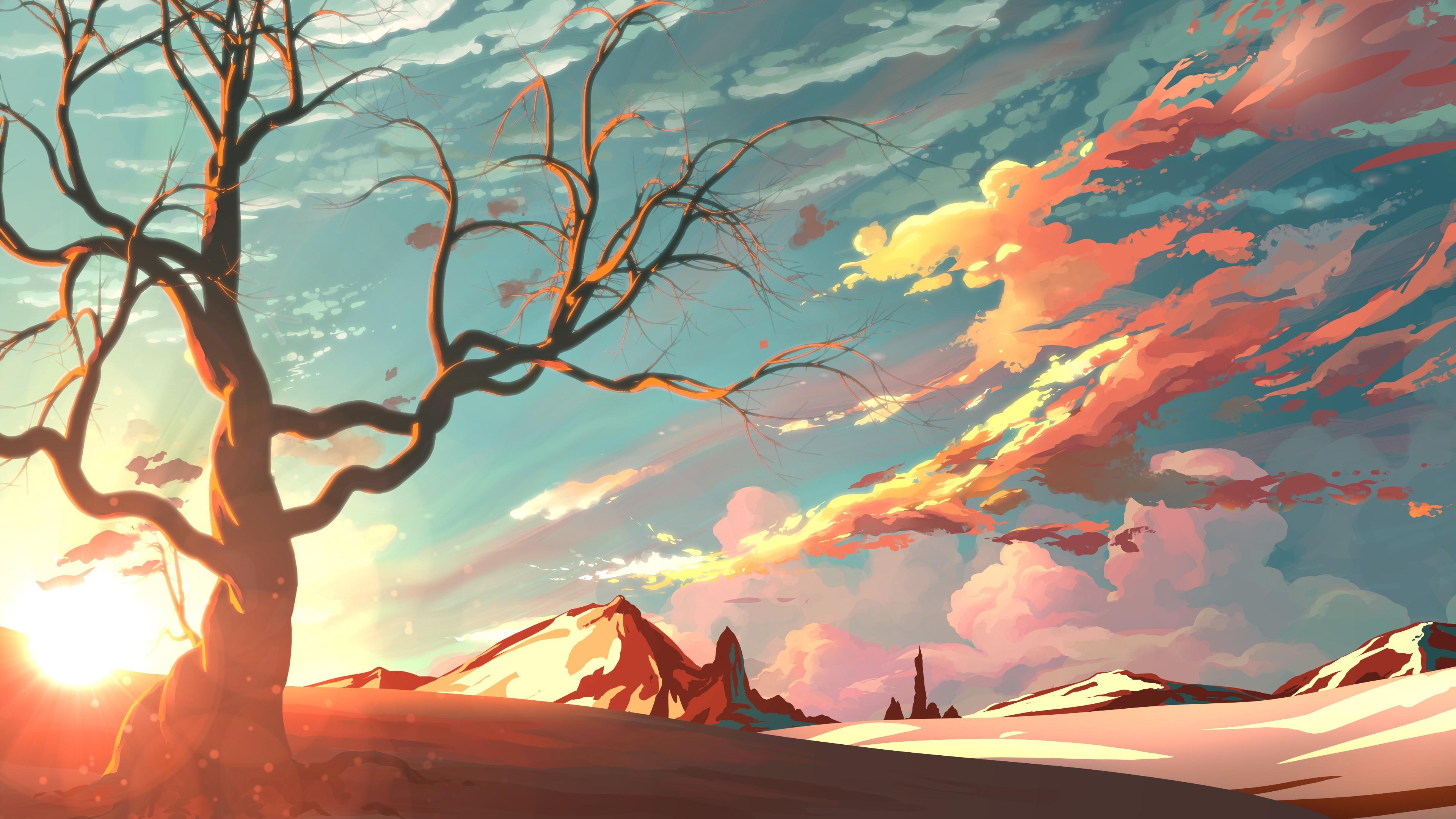 General 3840x2160 artwork landscape sky mountains nature trees snow clouds sunset digital art illustration