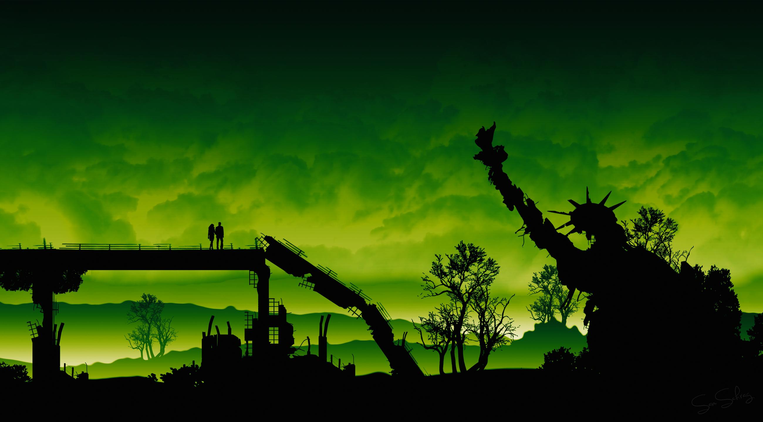General 2600x1440 silhouette green ruin sky Statue of Liberty