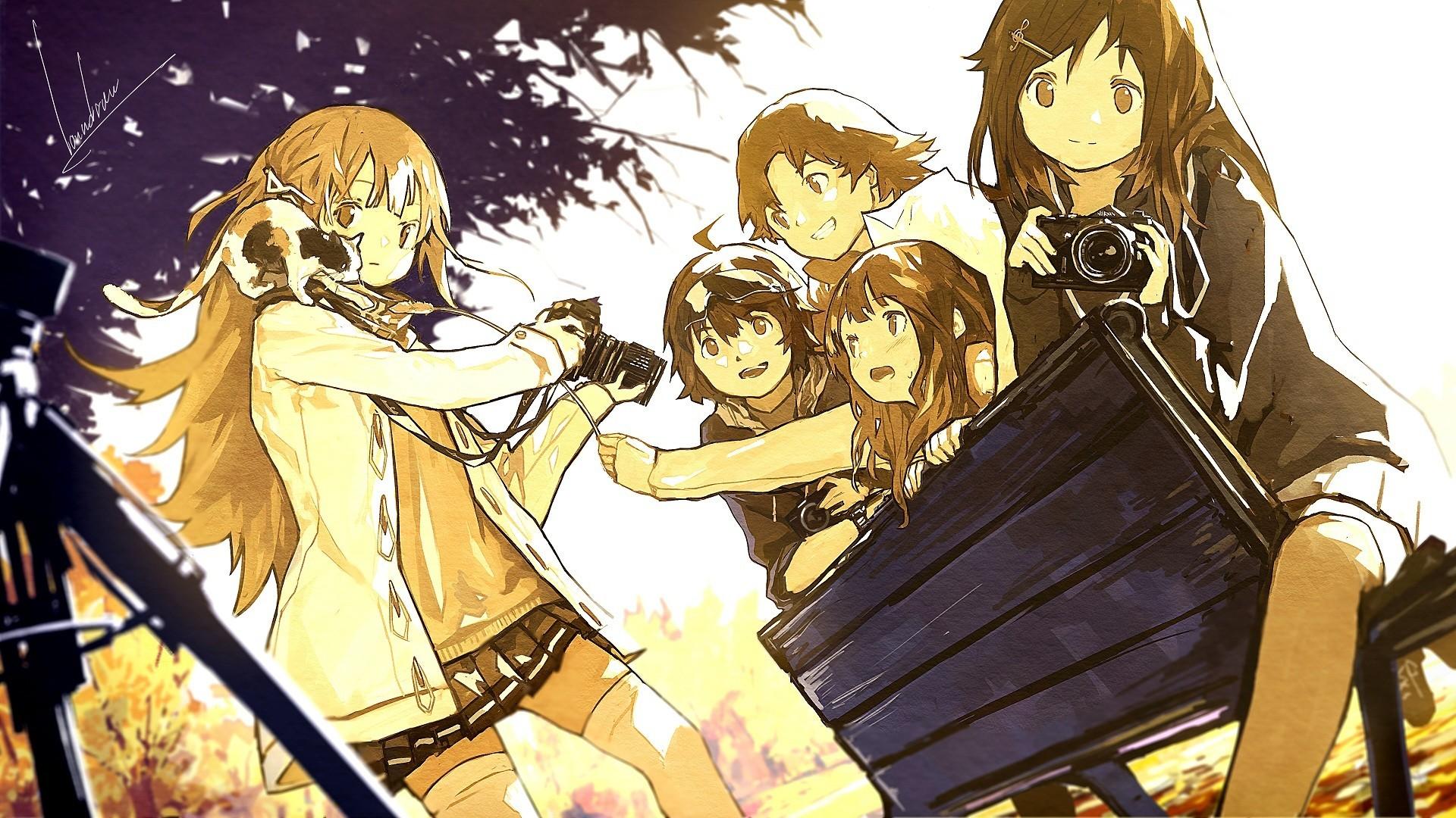 Anime 1920x1080 manga anime cats camera long hair sepia bench loundraw DeviantArt group of women