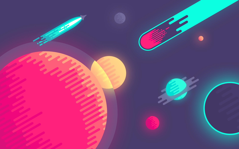 General 2880x1800 vector planet artwork digital art space comet colorful spaceship minimalism space art comic art rocket
