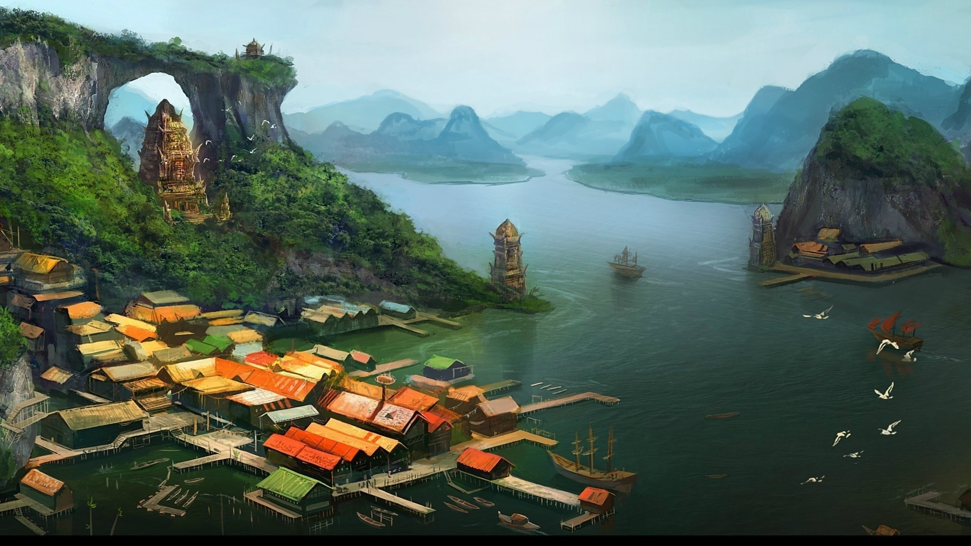 Anime 1920x1080 anime ports fantasy art architecture building house artwork painting rooftops village lake mountains birds pier tower ship trees