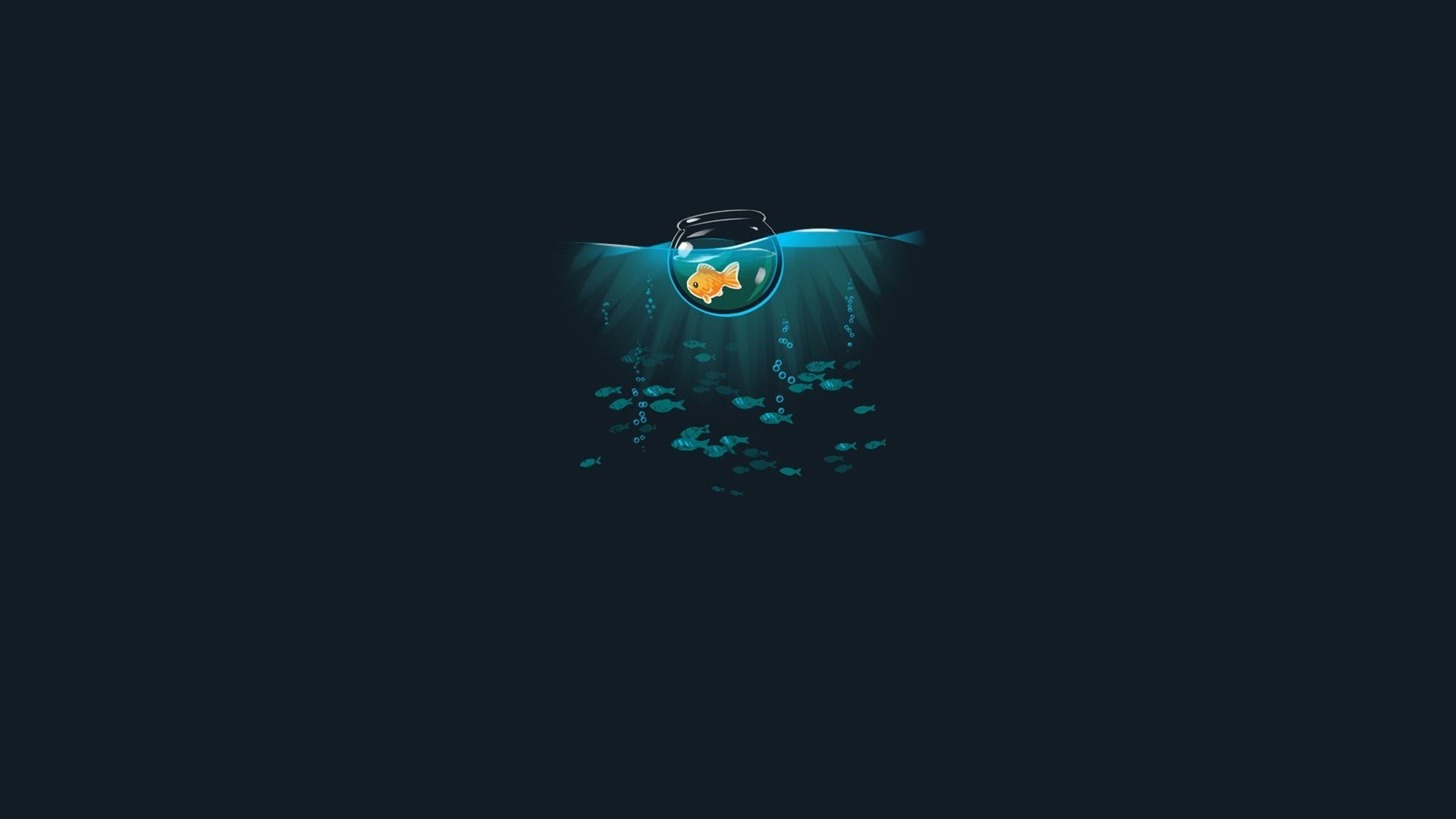 General 1920x1080 digital art dark humor simple background animals underwater humor