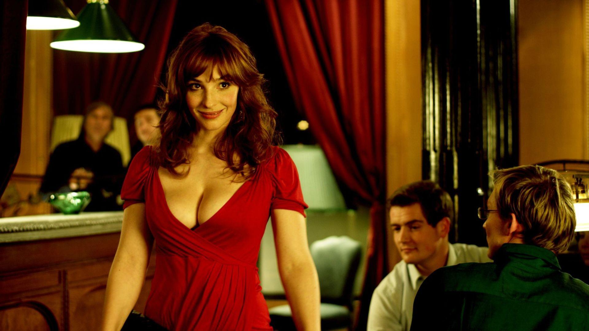 People 1920x1080 women redhead red dress dress cleavage big boobs Vica Kerekes movies film stills screen shot smiling women indoors men