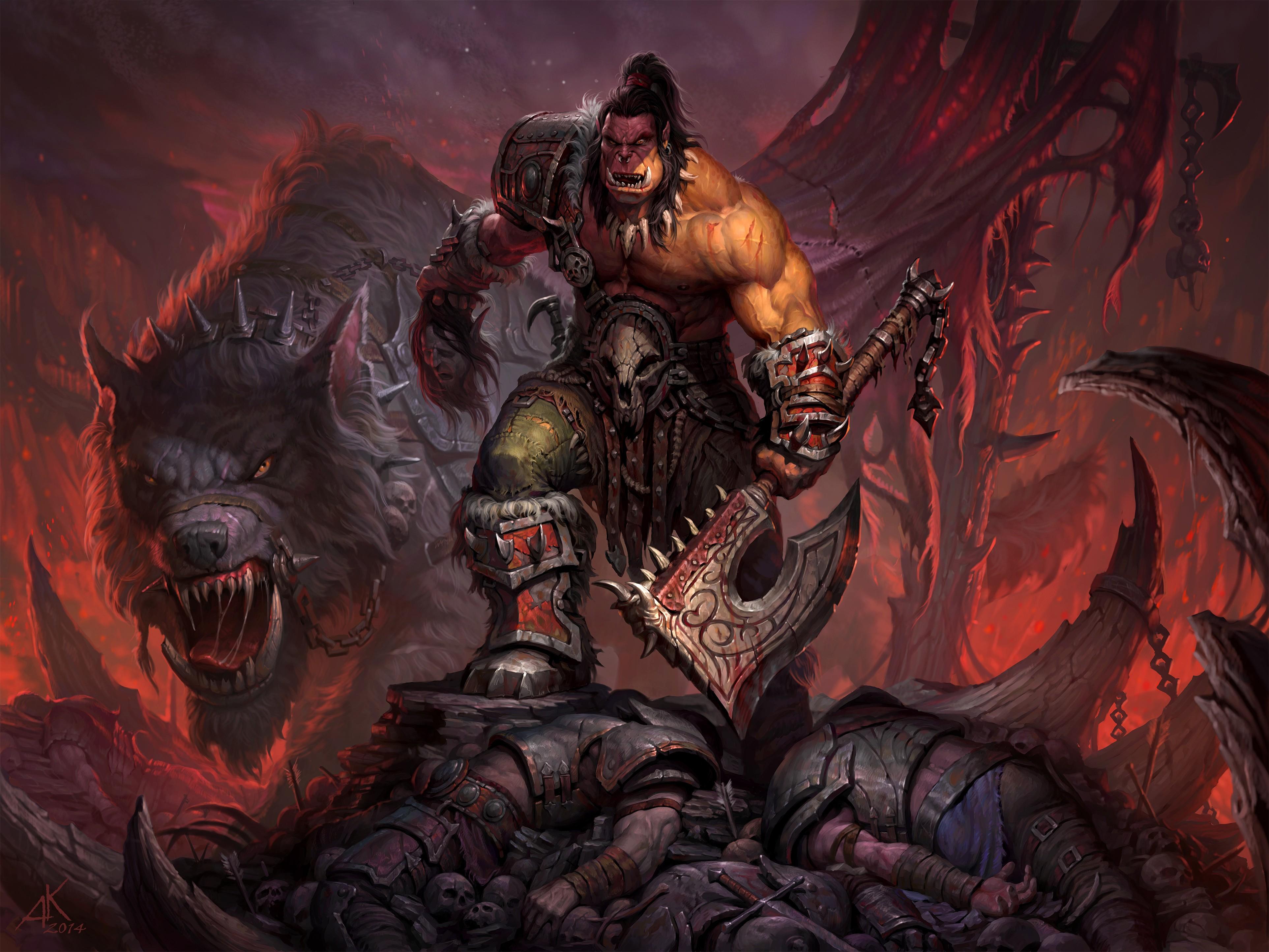 General 3850x2888 orcs axes creature World of Warcraft: Warlords of Draenor grommash hellscream World of Warcraft warrior video games DeviantArt video game art PC gaming fantasy art