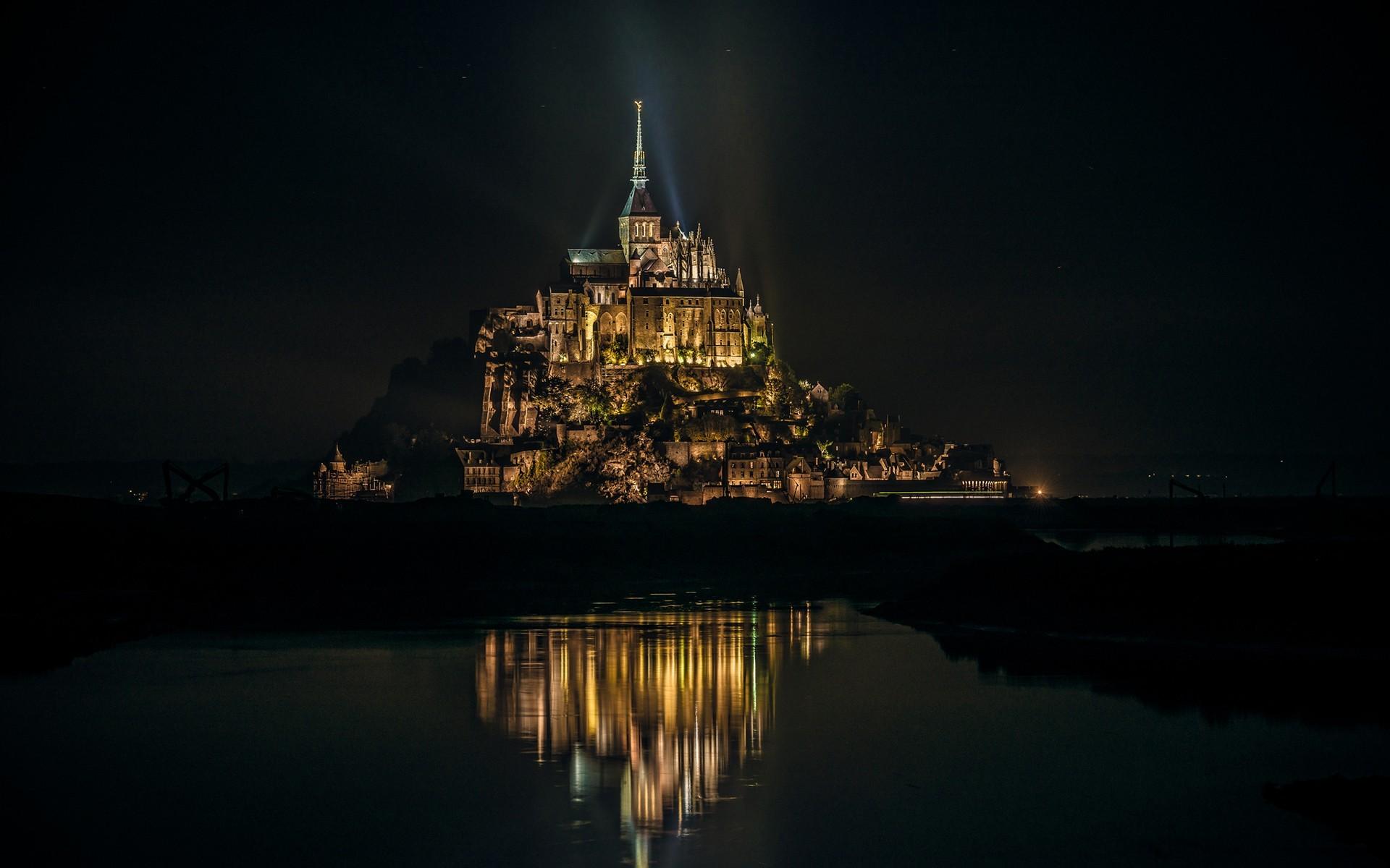 General 1920x1200 Mont Saint-Michel island night France city lights Abbey