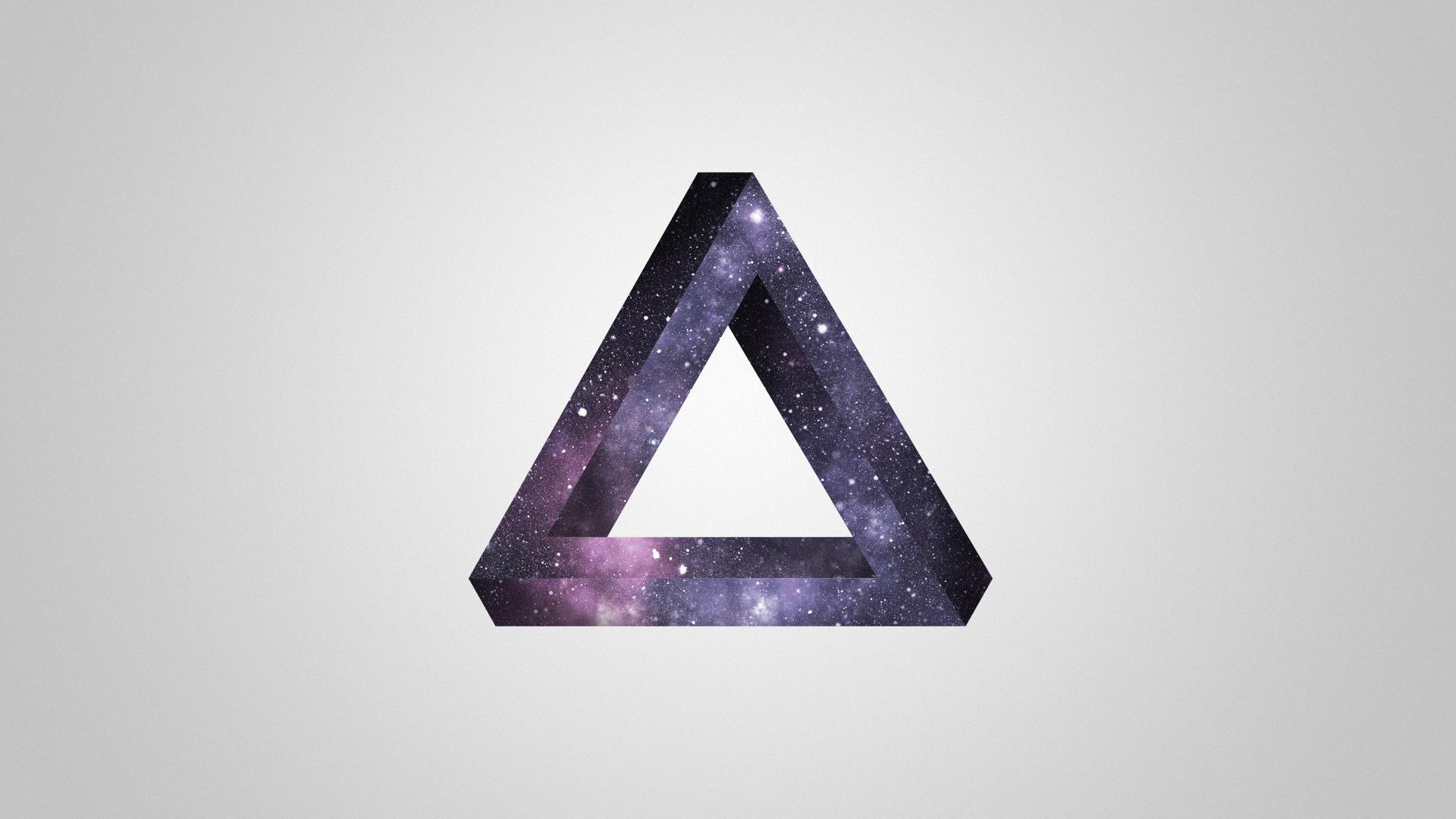 General 1920x1080 Penrose triangle minimalism optical illusion triangle stars simple background digital art space art