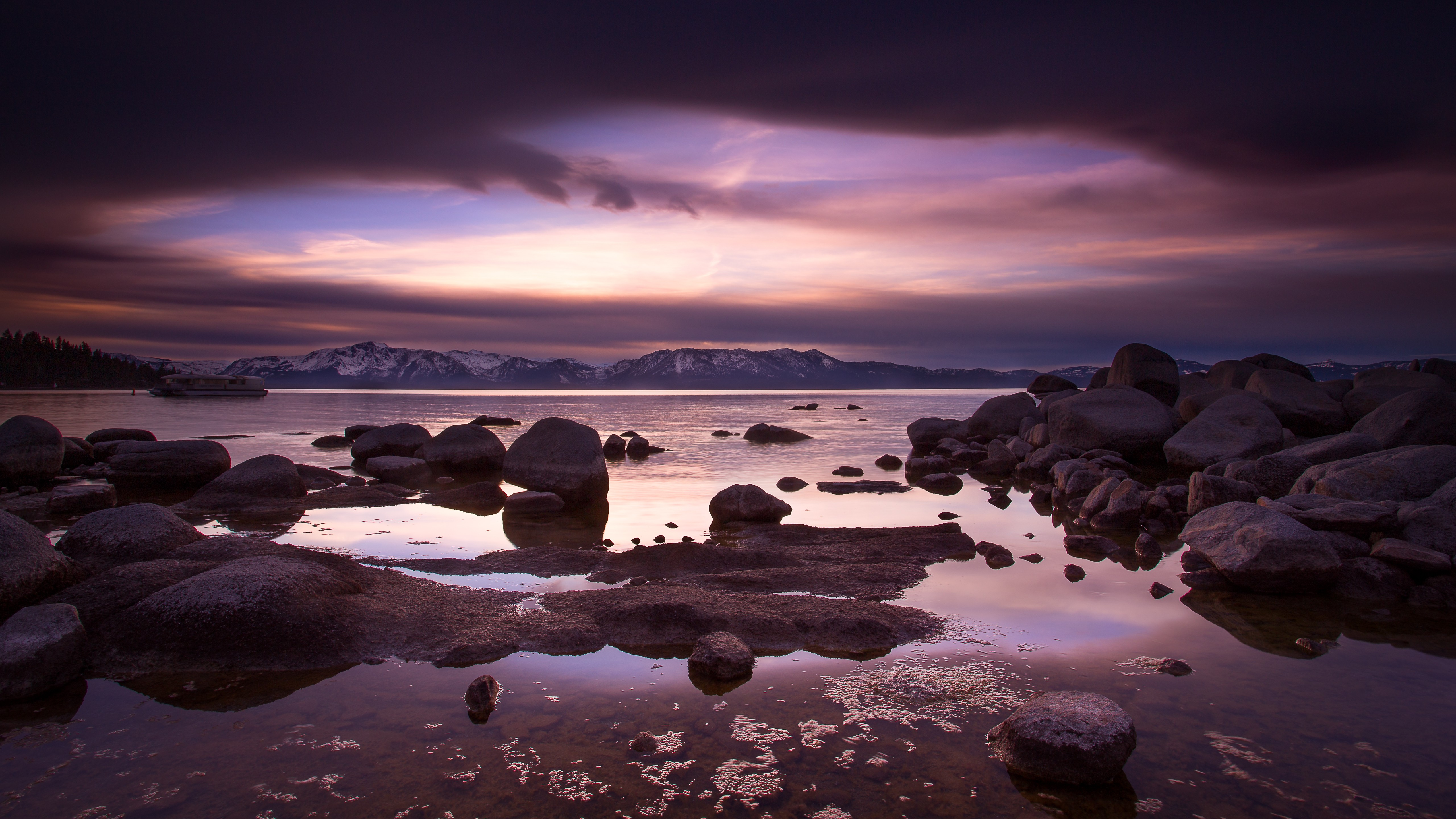 General 5120x2880 landscape water sea rock clouds