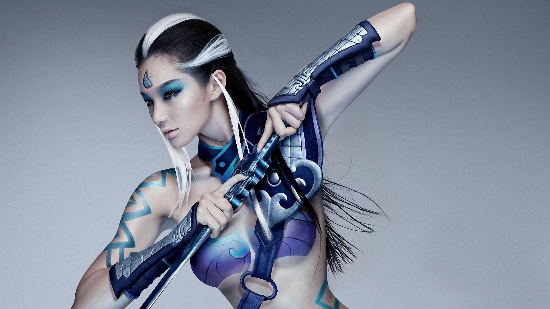 People 1920x1080 women cosplay brunette body paint Asian face paint