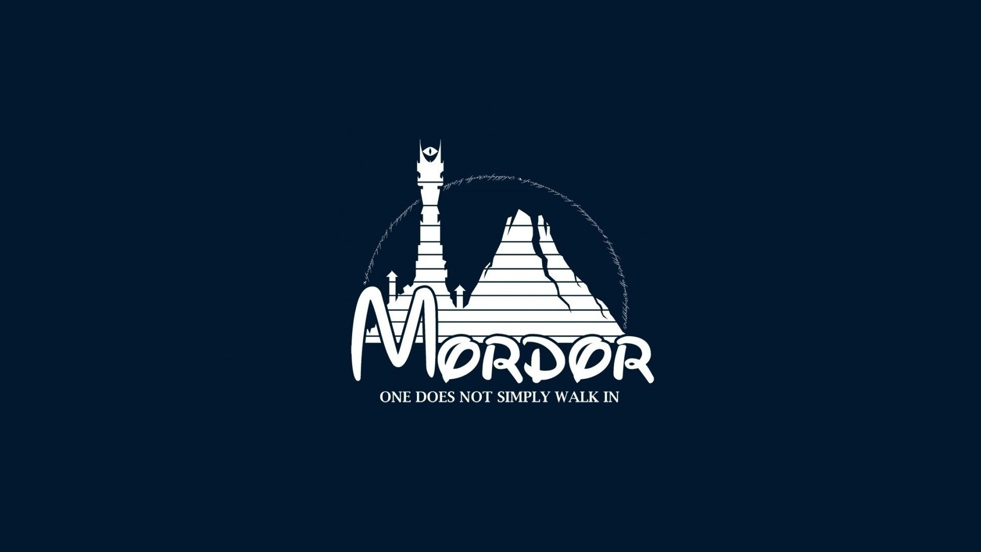 General 1920x1080 humor Middle-earth: Mordor minimalism Walt Disney The Lord of the Rings Mordor text blue