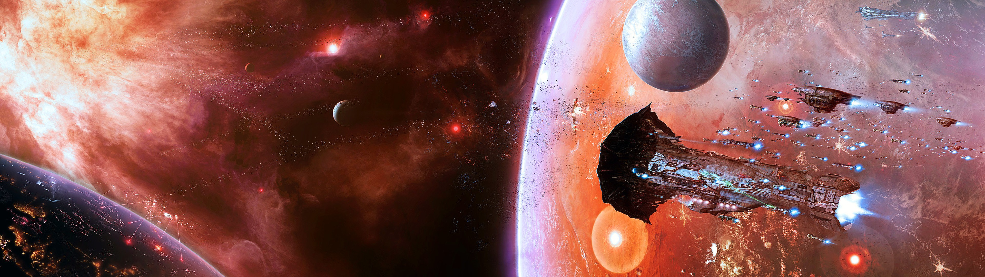 General 3840x1080 space EVE Online multiple display spaceship Amarr video games PC gaming video game art science fiction