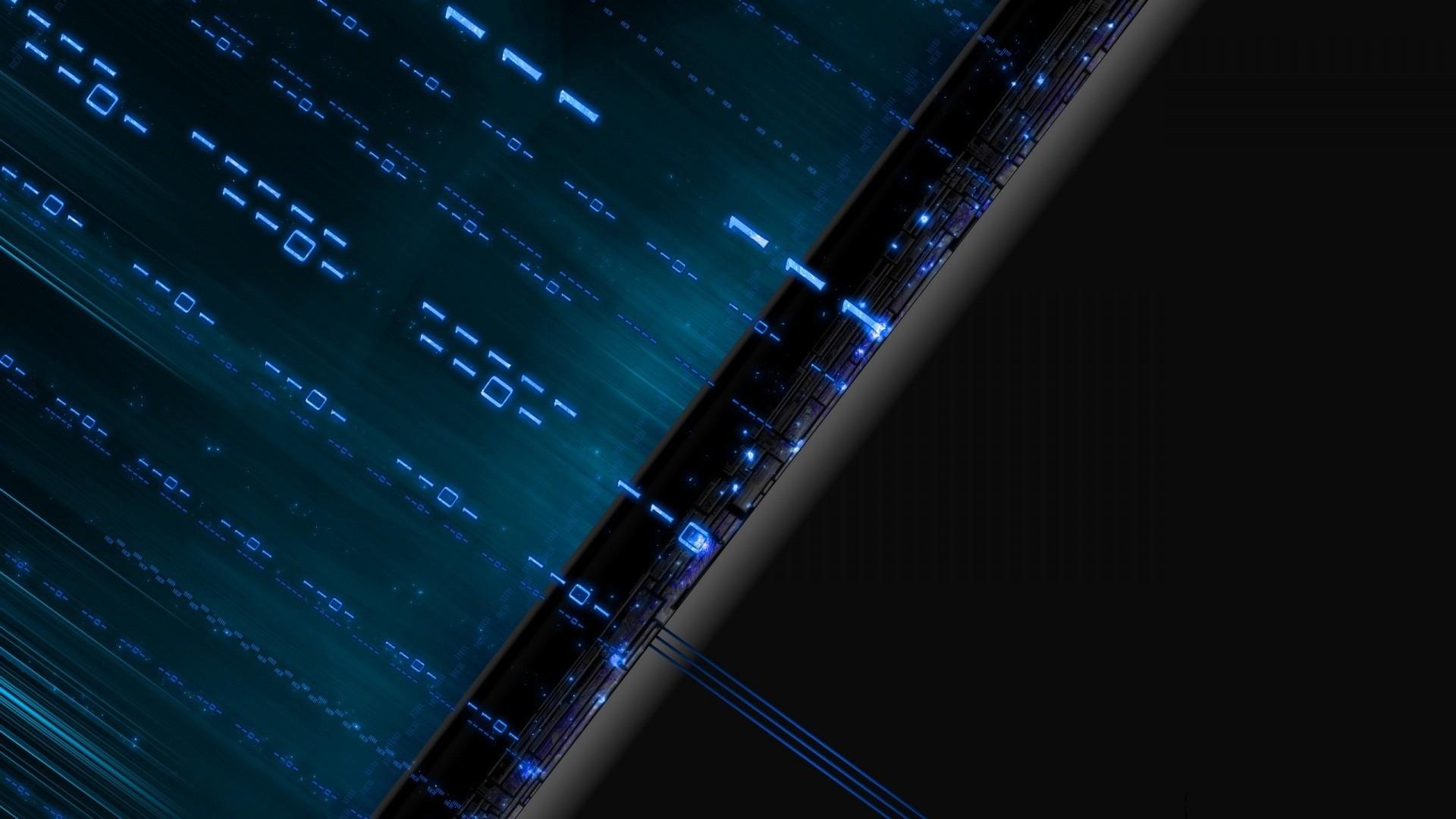 General 1920x1080 technology blue code digital art