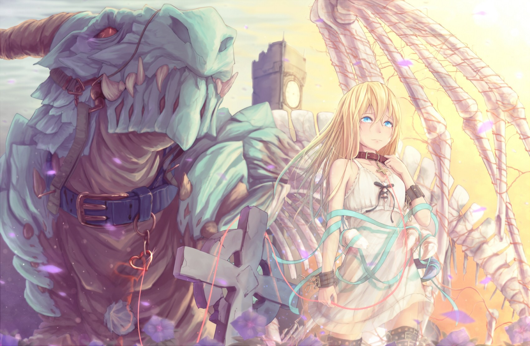 Anime 1700x1111 original characters dragon blonde blue eyes tears Dararito