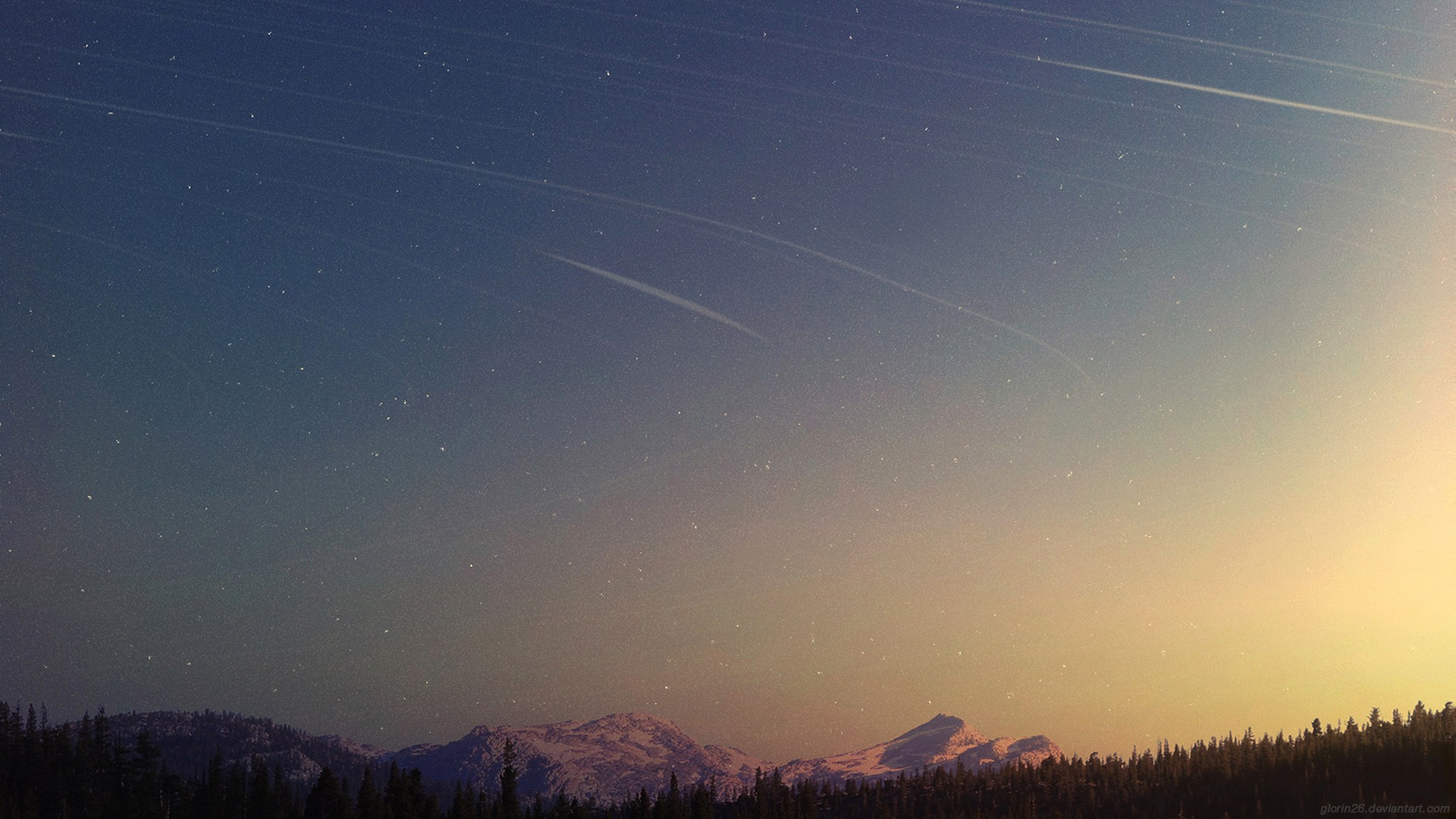 General 1920x1080 stars shooting stars space mountains forest sunlight sky landscape nature watermarked