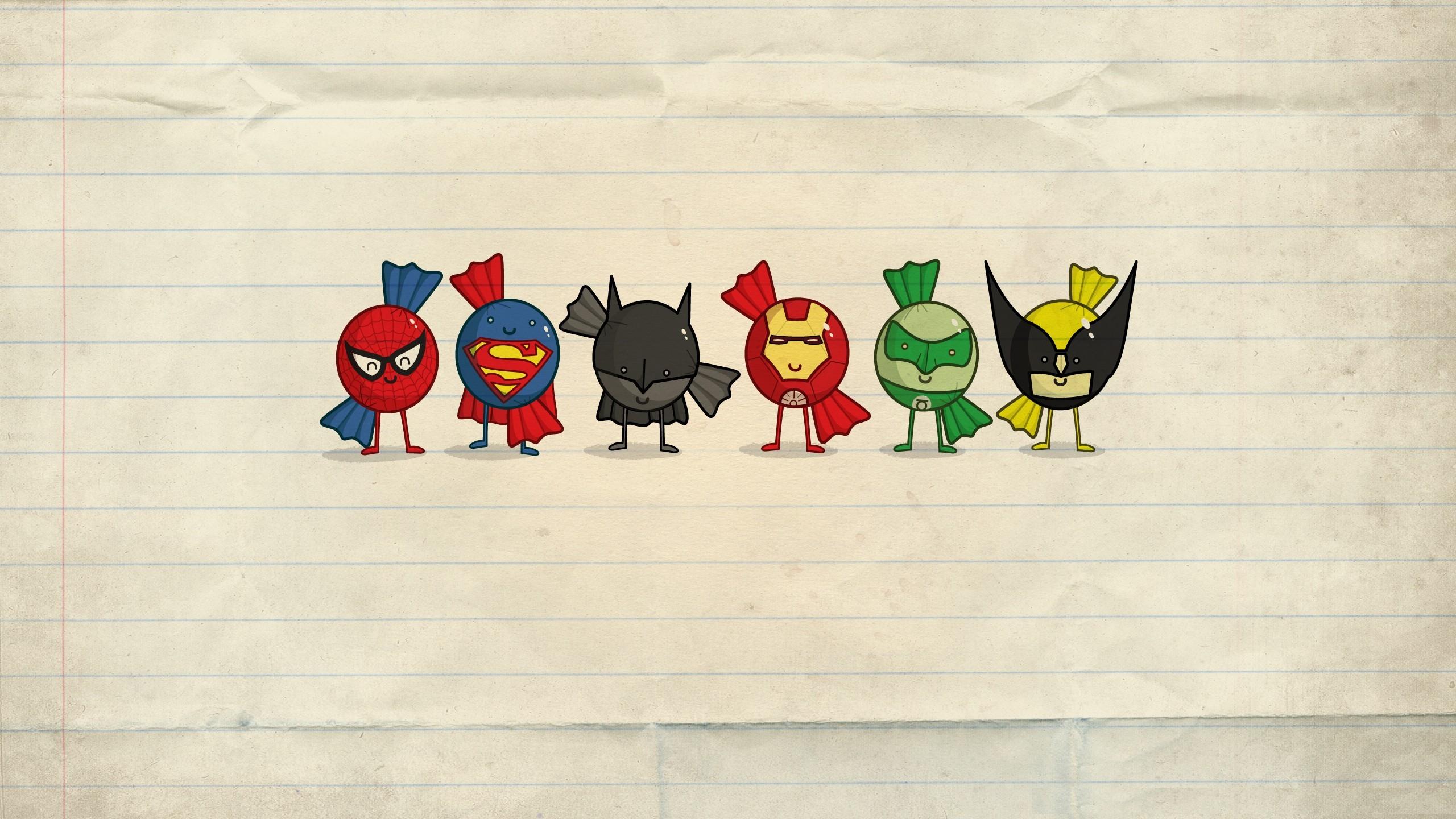 General 2560x1440 minimalism Iron Man Spider-Man Superman Batman superhero cartoon Green Lantern Wolverine