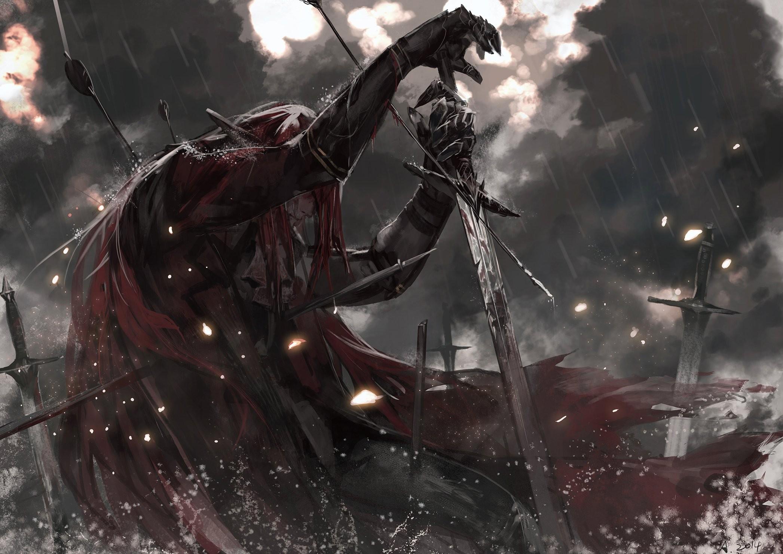 Anime 2093x1480 alcd leather armor redhead blood cape dark sword Pixiv Fantasia rain arrows smoke fantasy art warrior