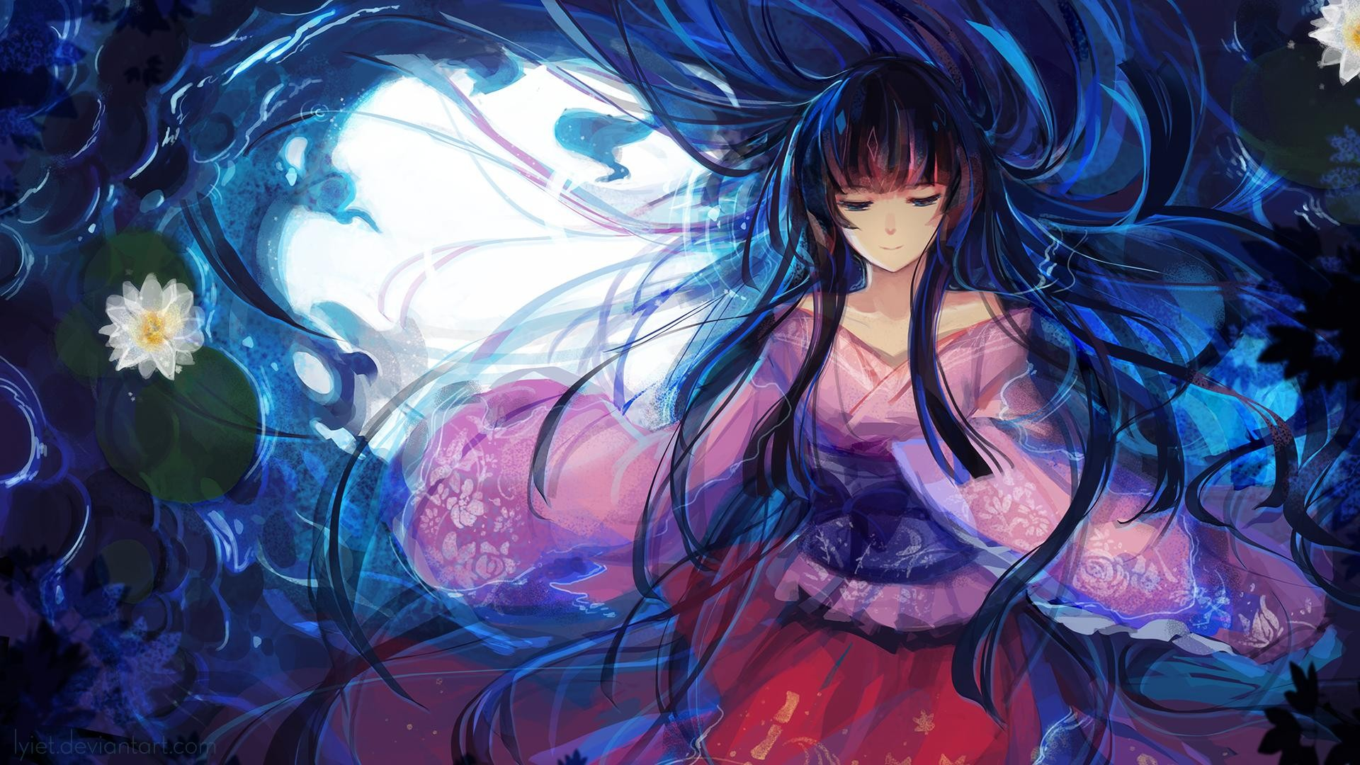 Anime 1920x1080 water pink dress Houraisan Kaguya