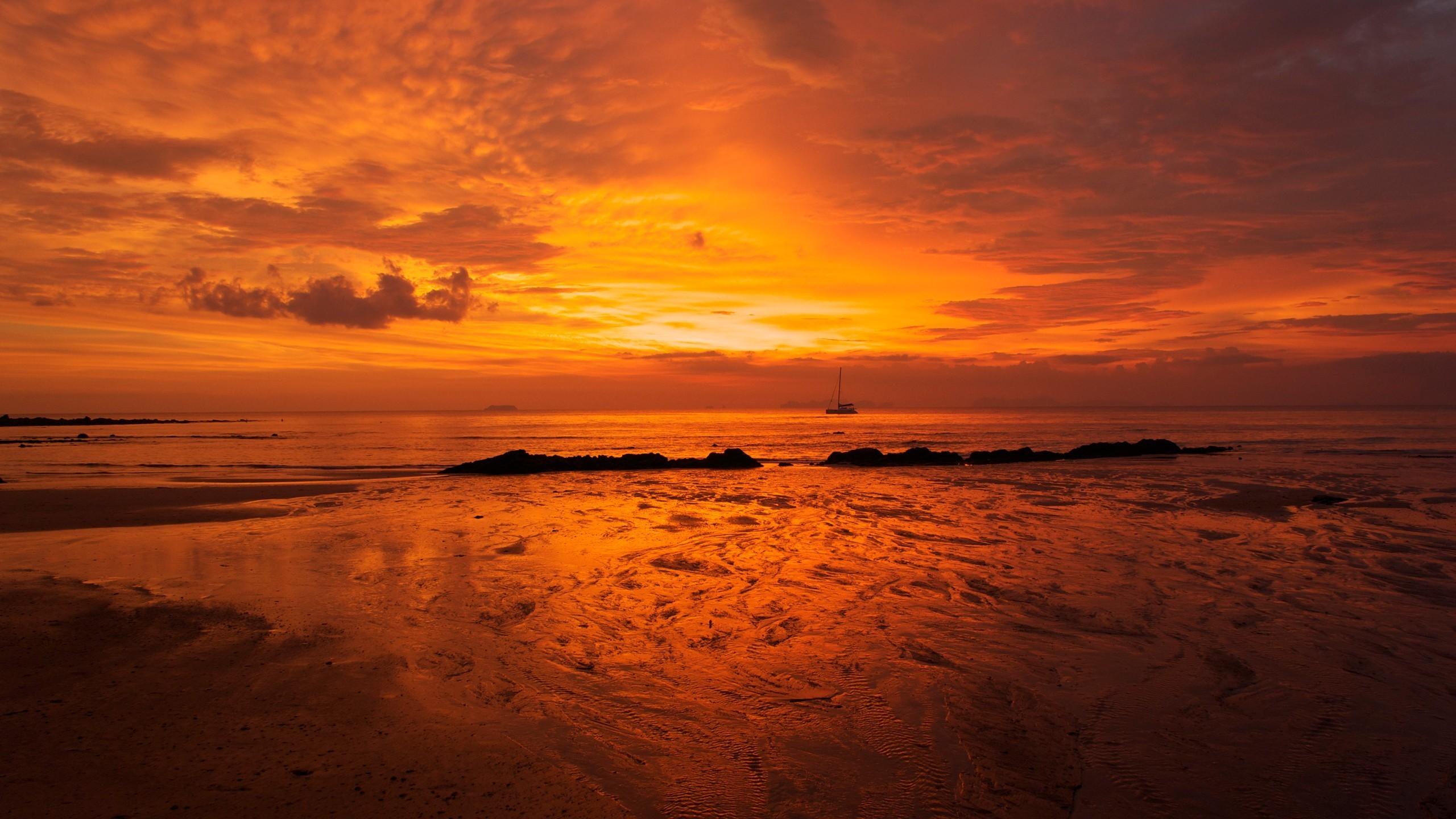 General 2560x1440 landscape nature sunset sea beach clouds sky sunlight