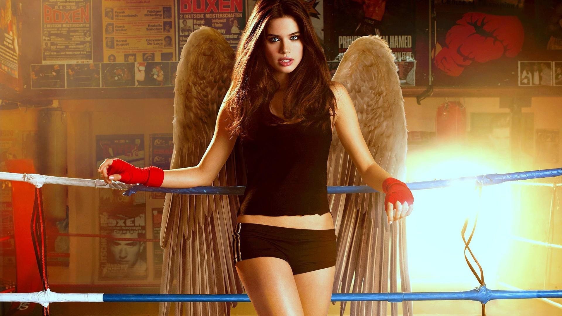 People 1920x1080 Sara Sampaio sportswear tight shorts brunette long hair model women woman angel supermodel