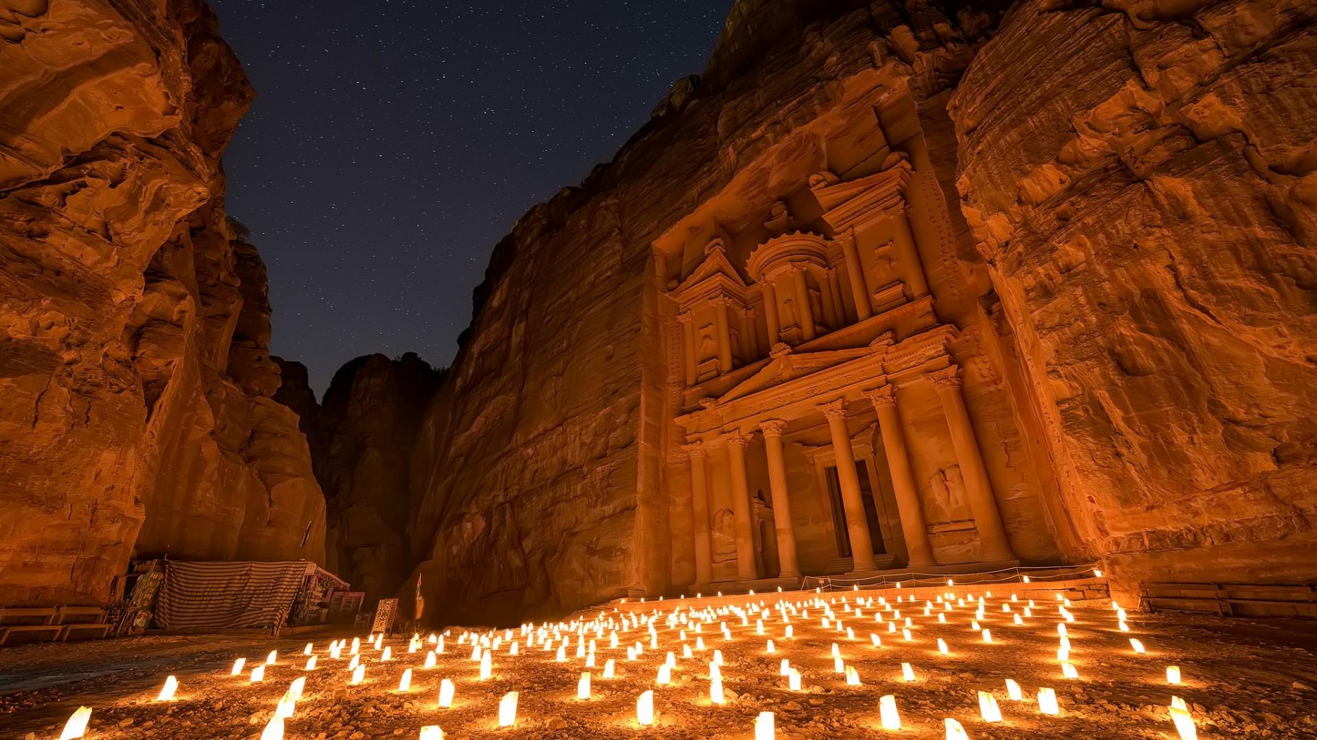 General 1920x1080 Petra ancient Jordan (country) candles rocks building
