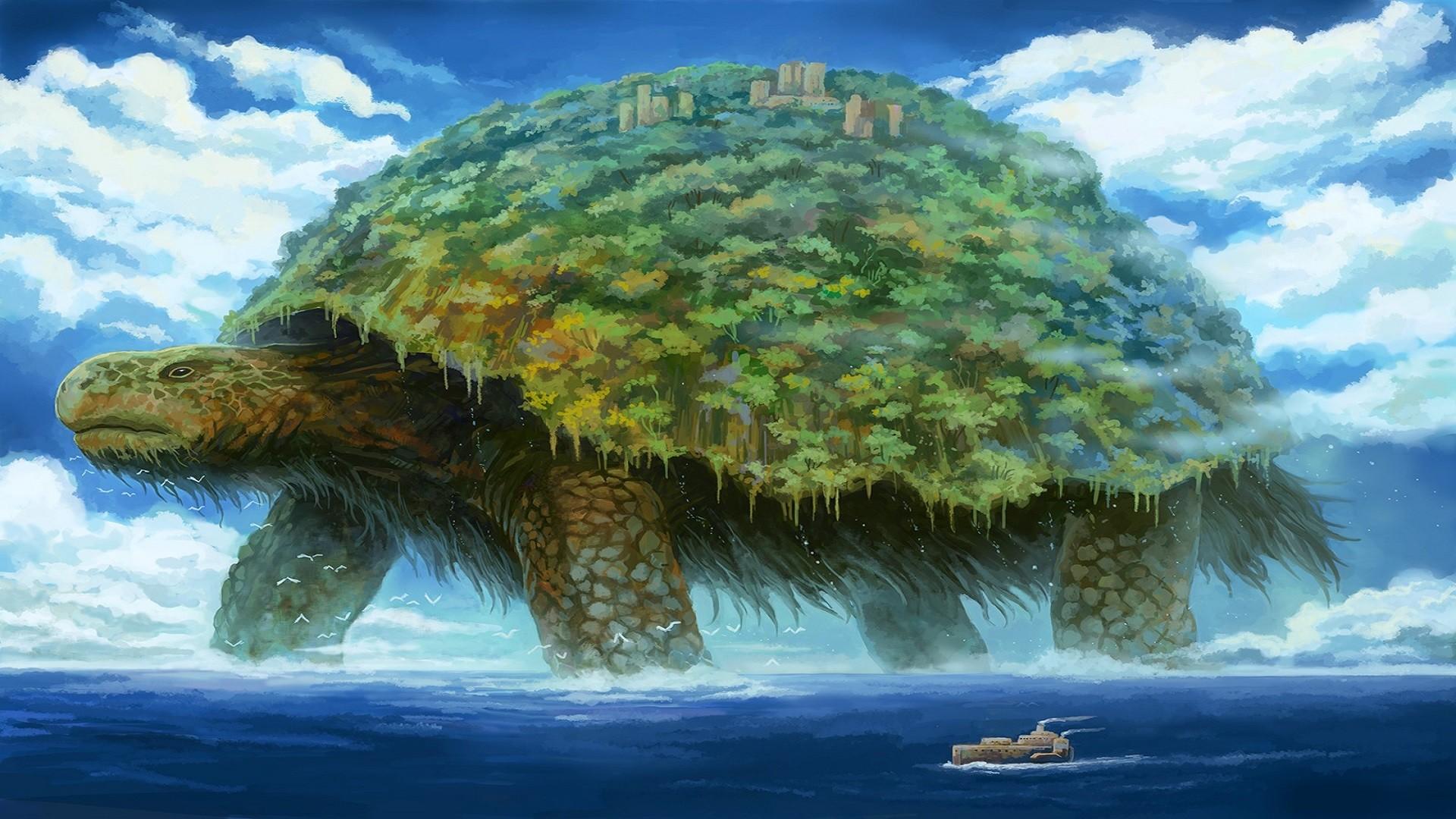 General 1920x1080 digital art nature landscape sea animals turtle trees ship forest building clouds birds giant waves artwork