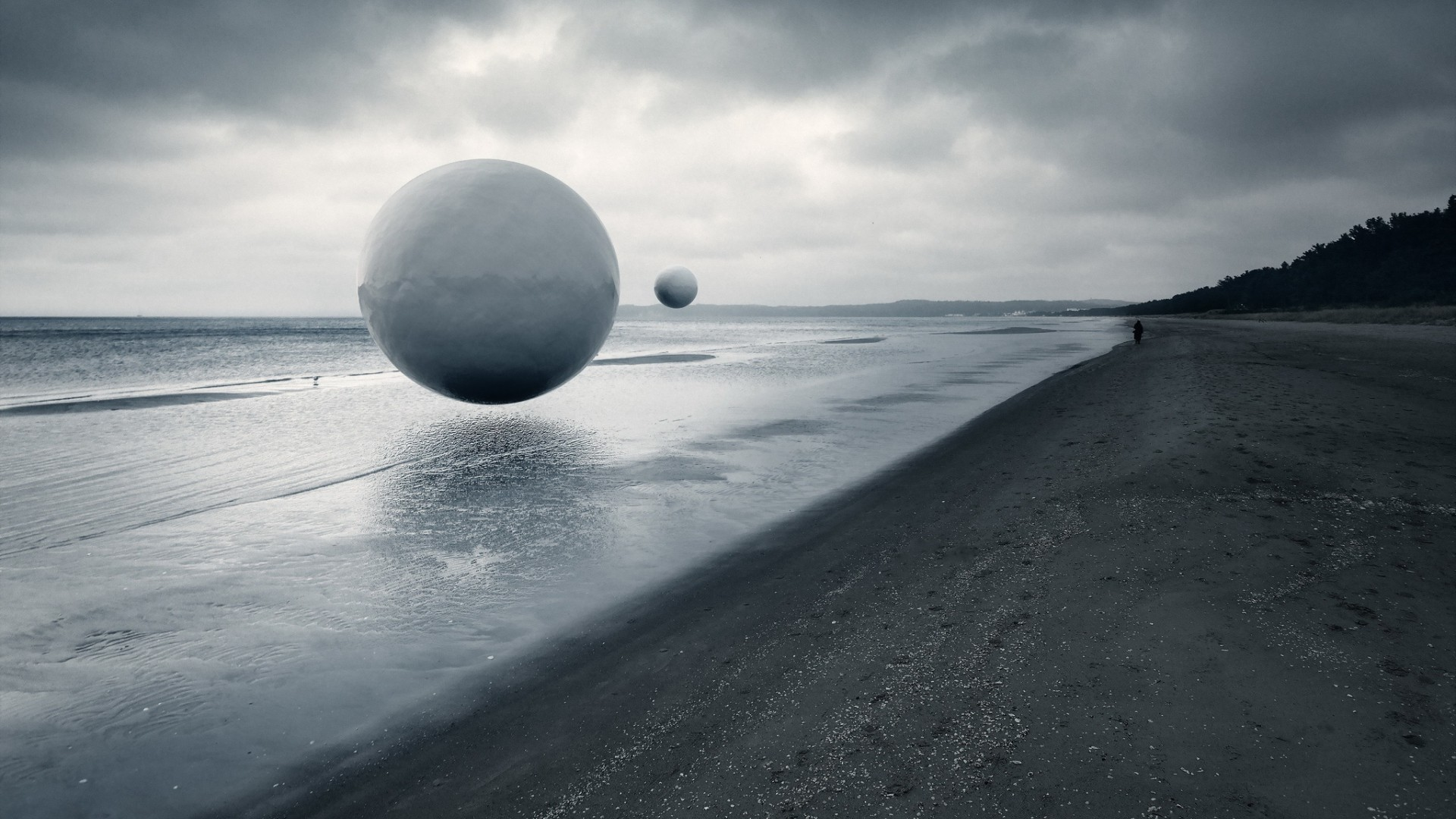 General 1920x1080 nature landscape water sea coast artwork ball sand beach people alone trees forest monochrome clouds photo manipulation sphere overcast UFOs