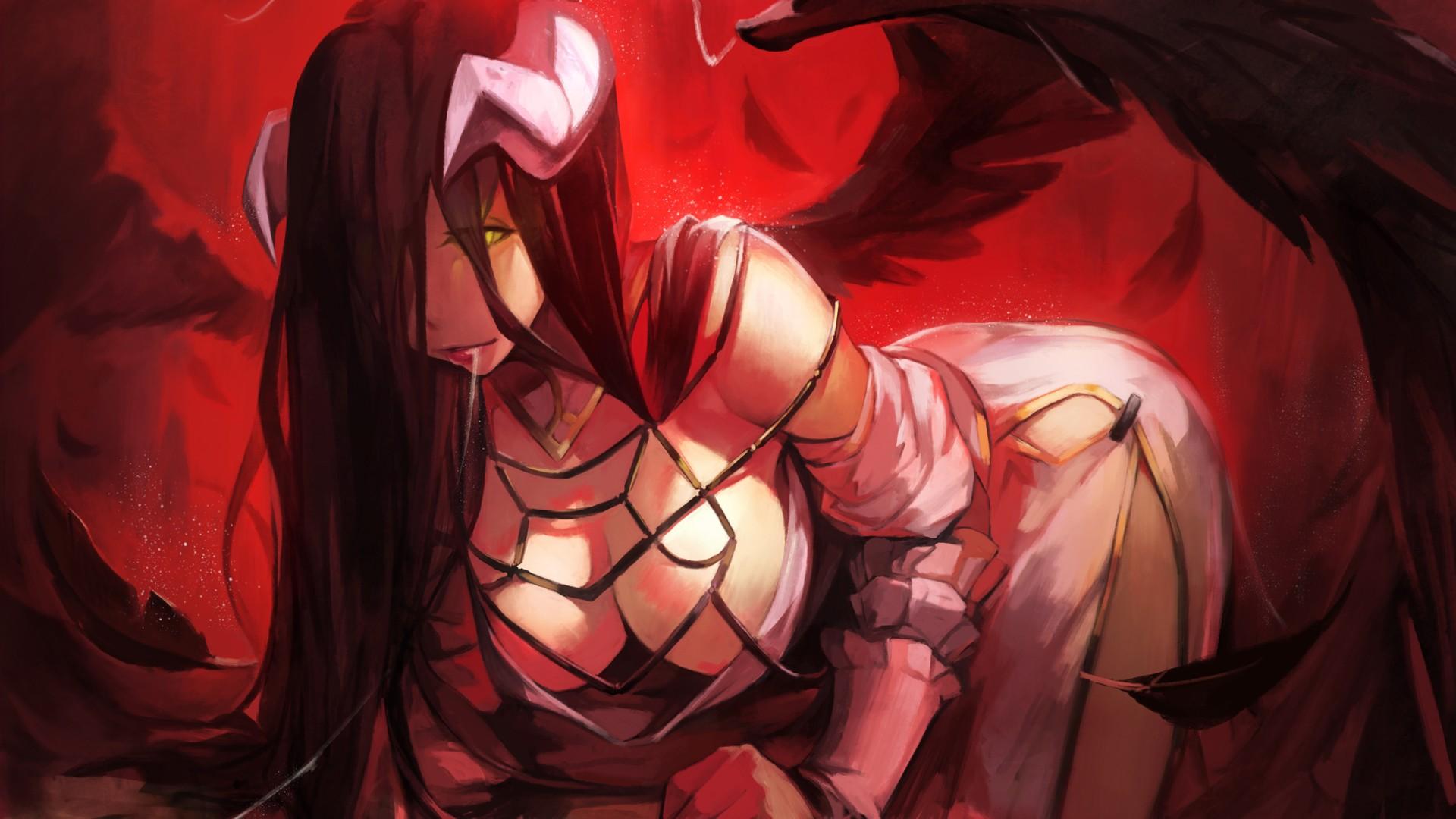 Anime 1920x1080 Albedo (OverLord) anime anime girls horns Overlord (anime) drool red demon girl