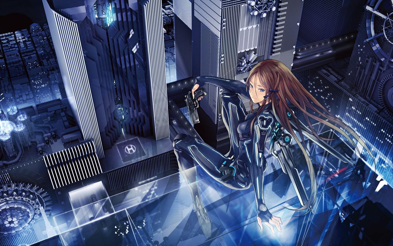 Anime 1500x938 original characters androids long hair ribbon weapon futuristic city mecha girls anime girls anime