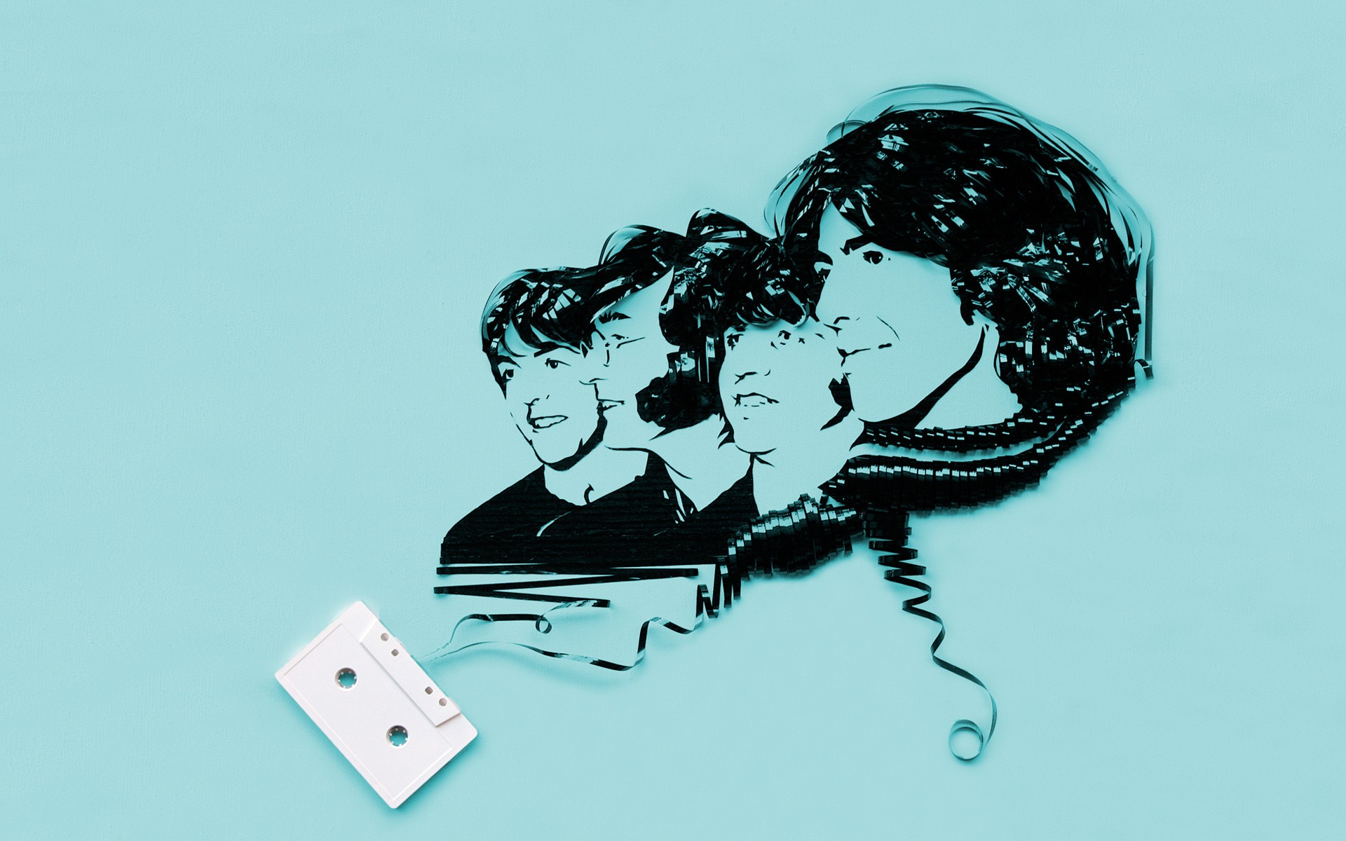 General 1920x1200 digital art minimalism simple simple background men face musician The Beatles tape audio cassete cassette John Lennon Paul McCartney legend Ringo Starr George Harrison singer artwork cyan cyan background