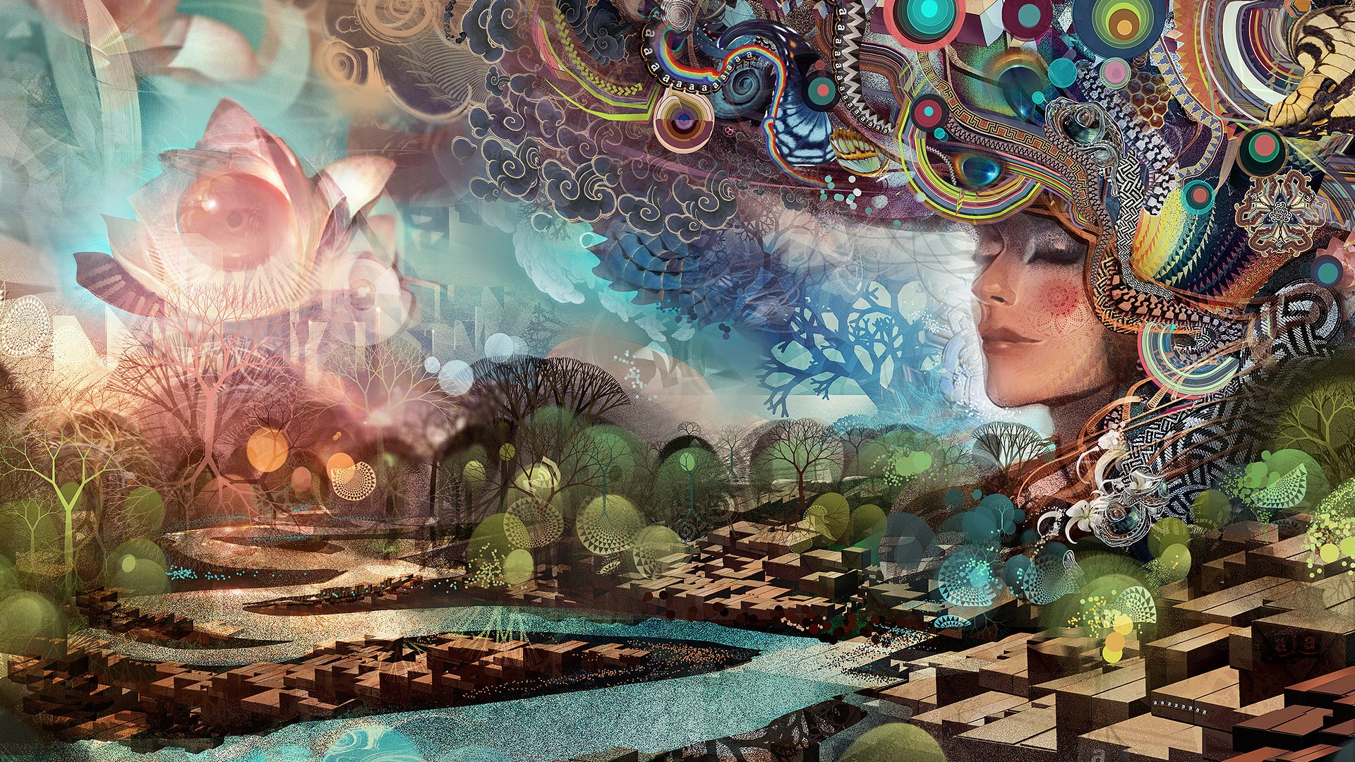 General 1920x1080 digital art painting women face artwork fantasy art abstract trees closed eyes ornamented water geometry circle 3D Android Jones
