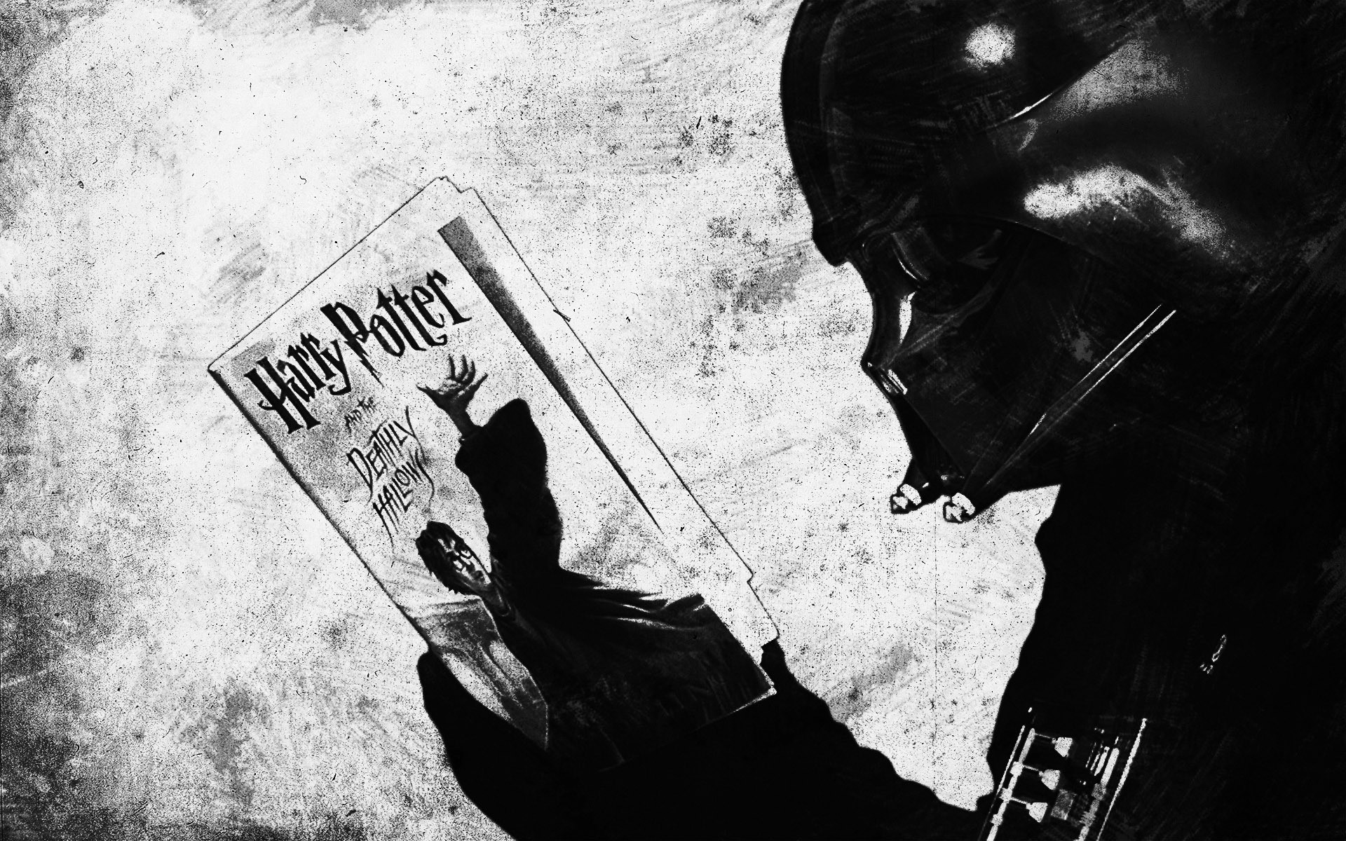 General 1920x1200 Star Wars Darth Vader Harry Potter and the Deathly Hallows humor Harry Potter monochrome mix up Sith
